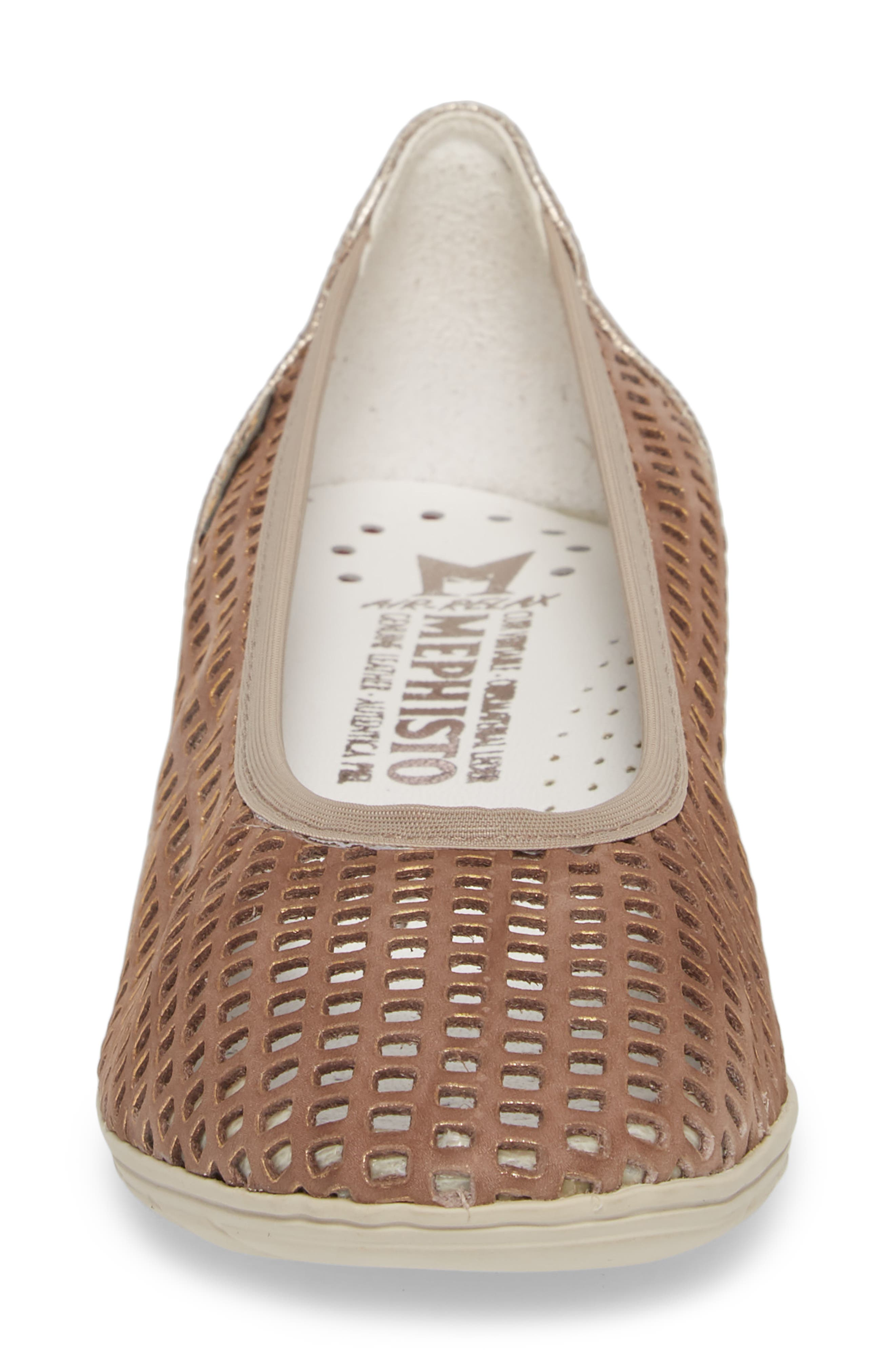 Evelyne Perforated Flat,                             Alternate thumbnail 4, color,                             TAUPE LEATHER