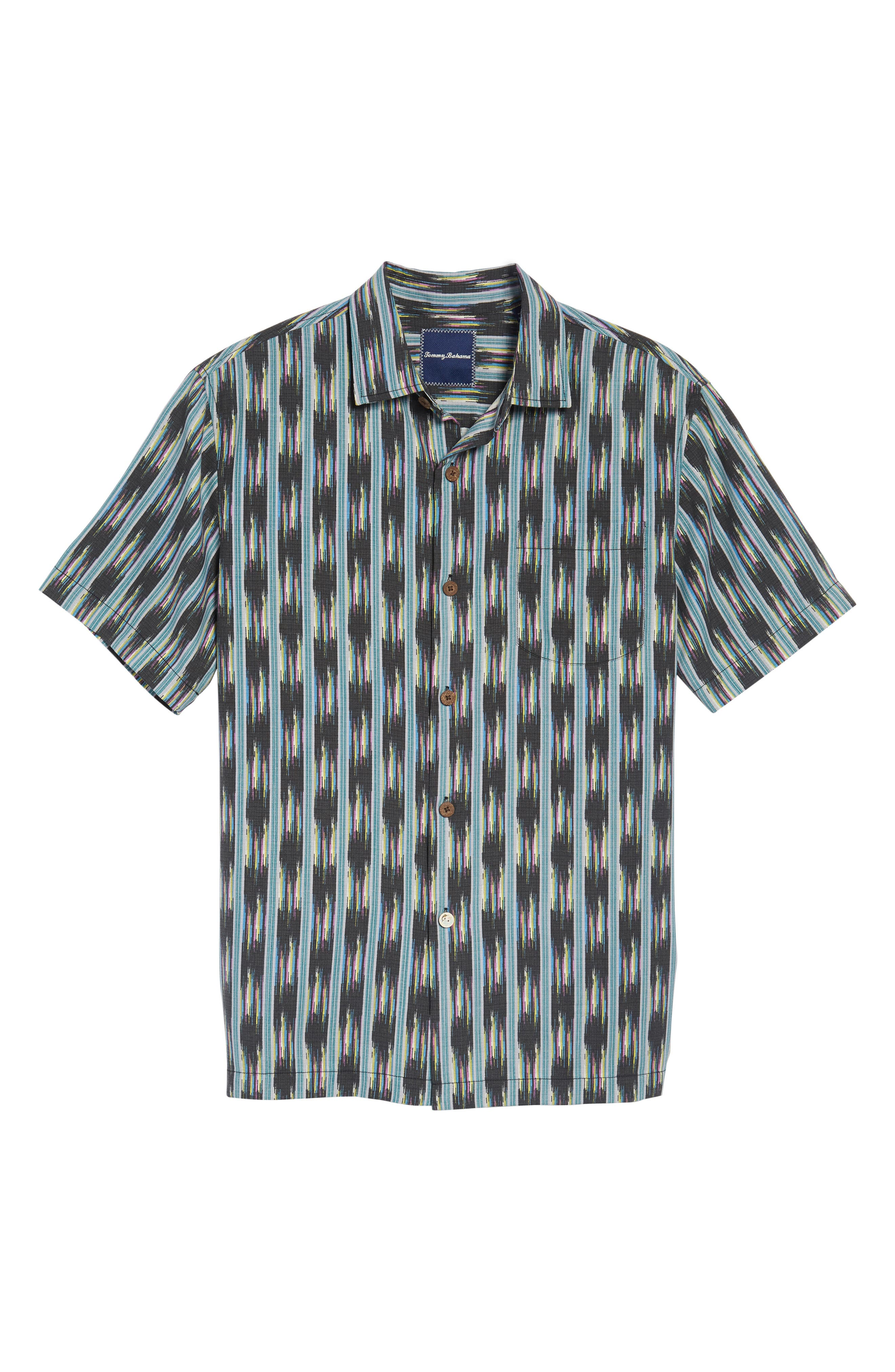 Ikat on a Hot Tin Roof Standard Fit Silk Blend Camp Shirt,                             Alternate thumbnail 6, color,                             001