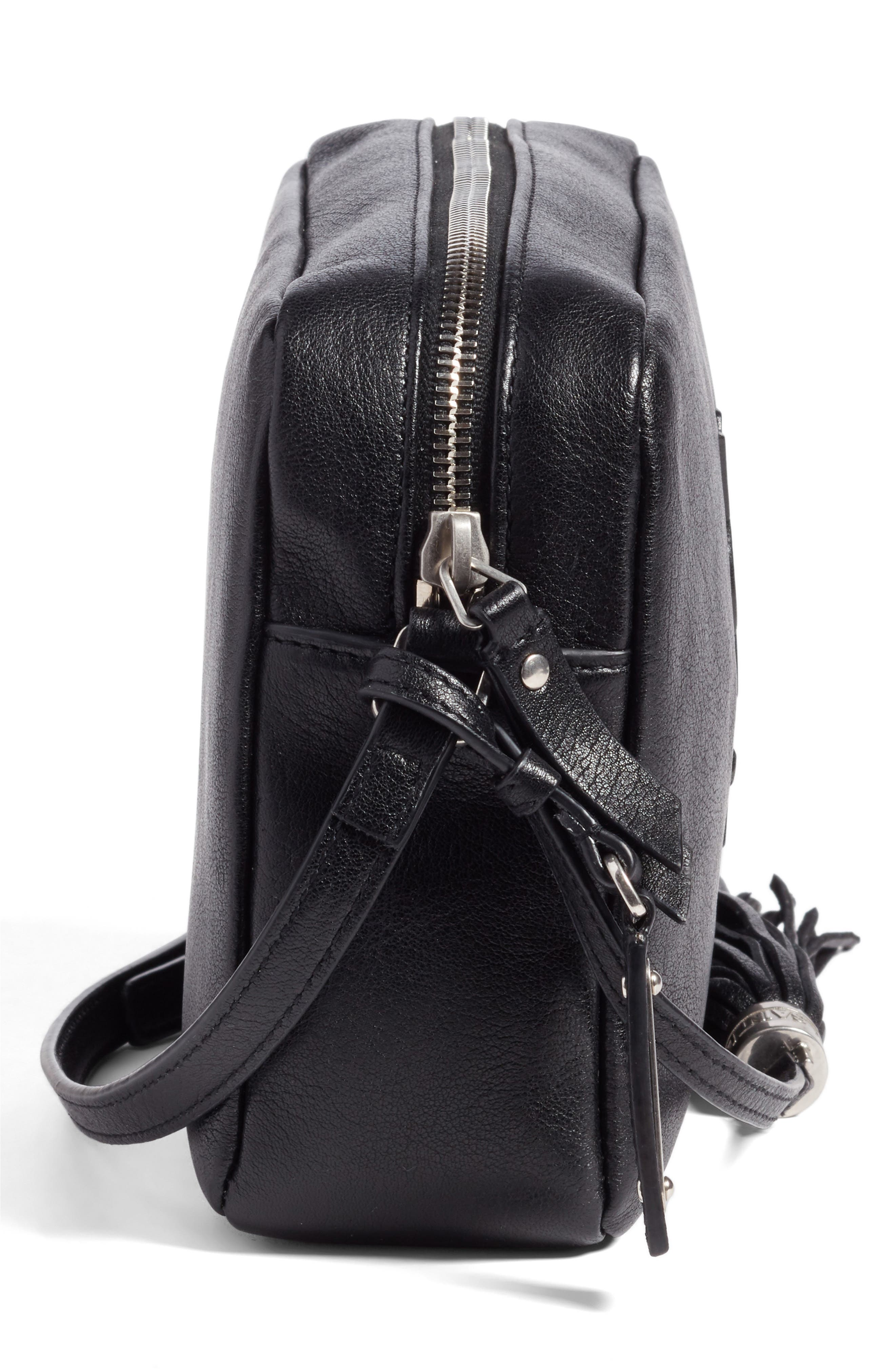 Small Mono Leather Camera Bag,                             Alternate thumbnail 5, color,                             NOIR