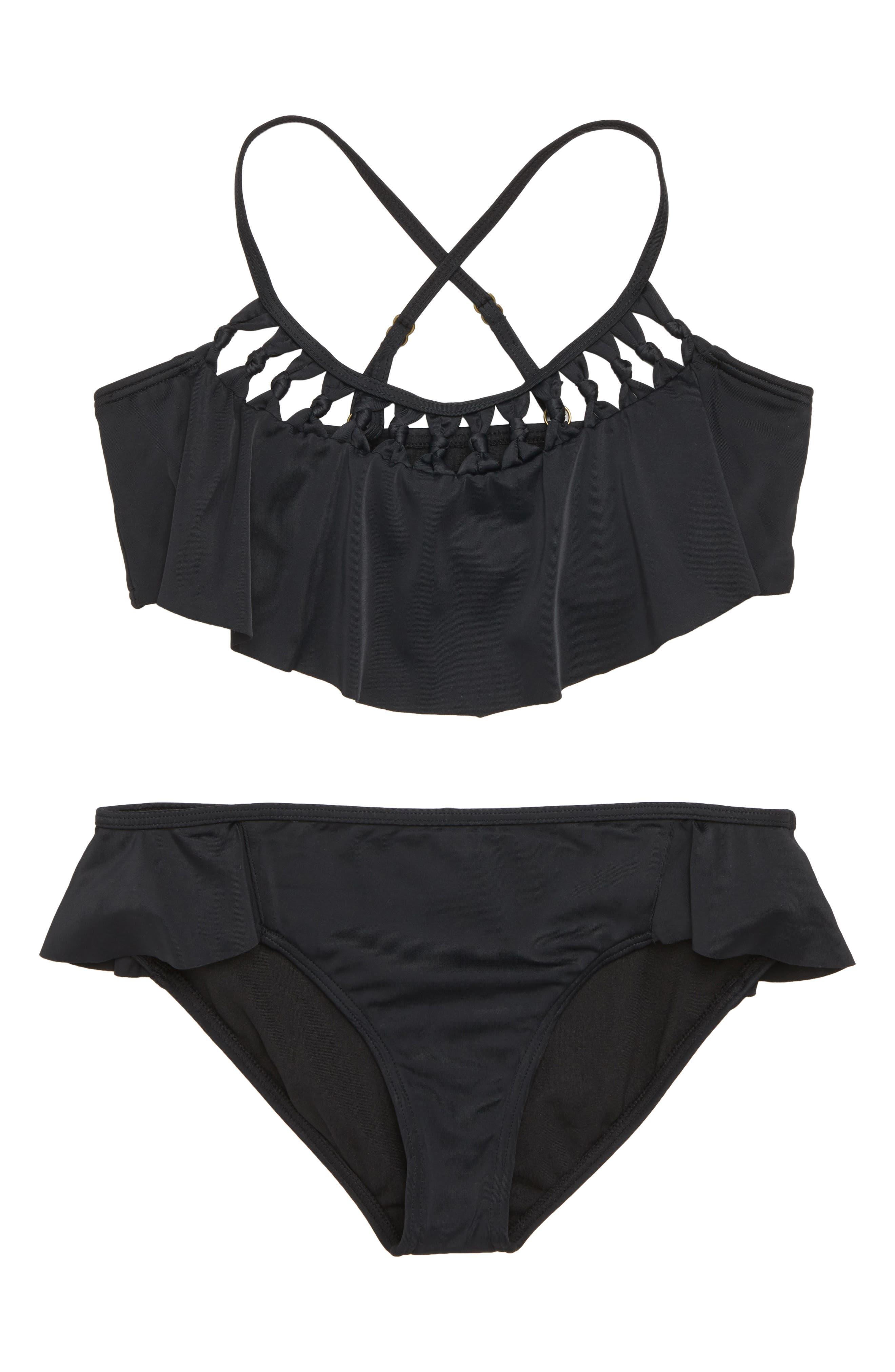 Macramé Madness Two-Piece Swimsuit,                         Main,                         color, BLACK