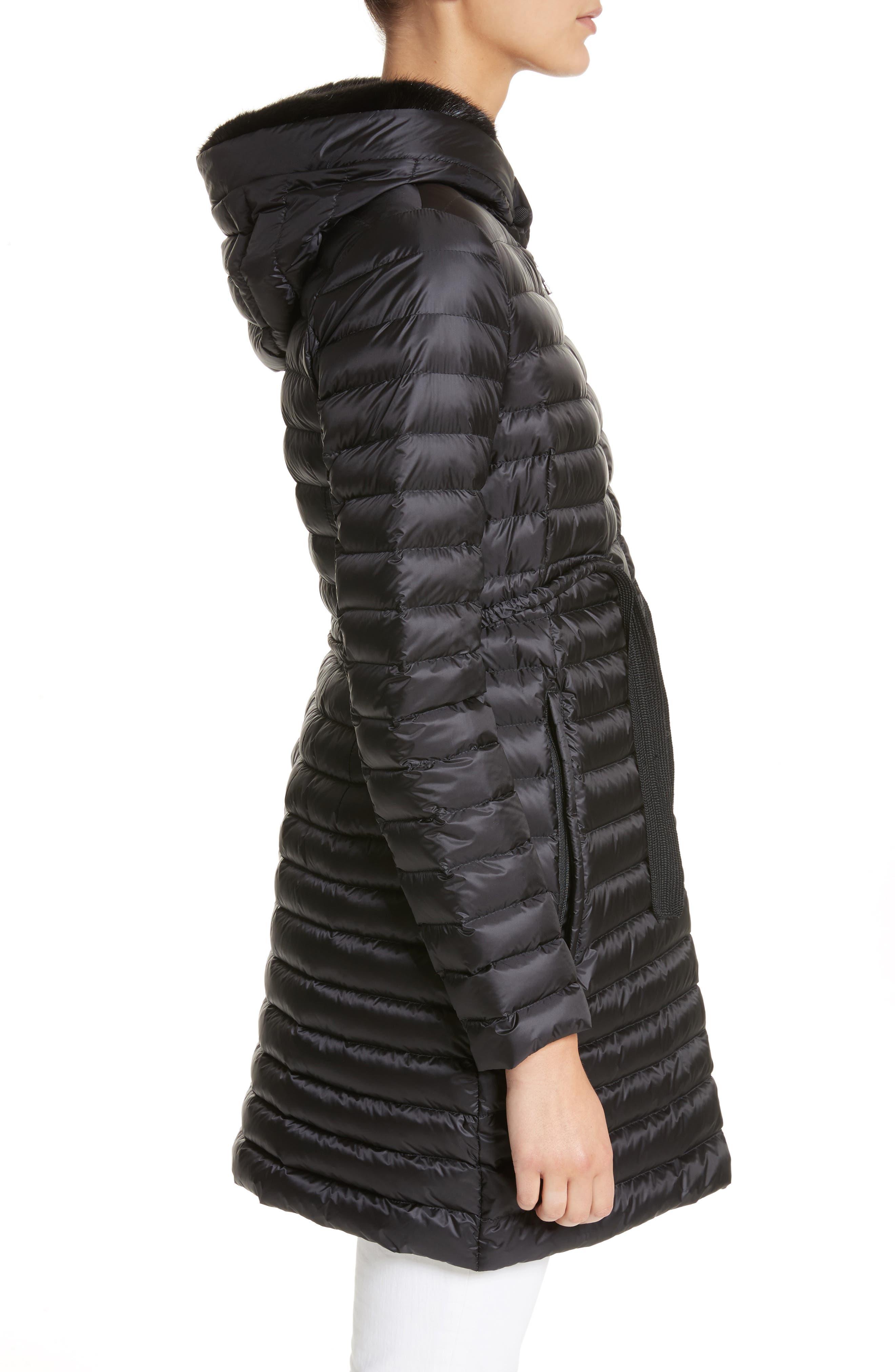 Barbel Hooded Down Coat with Genuine Mink Fur Trim,                             Alternate thumbnail 3, color,                             001