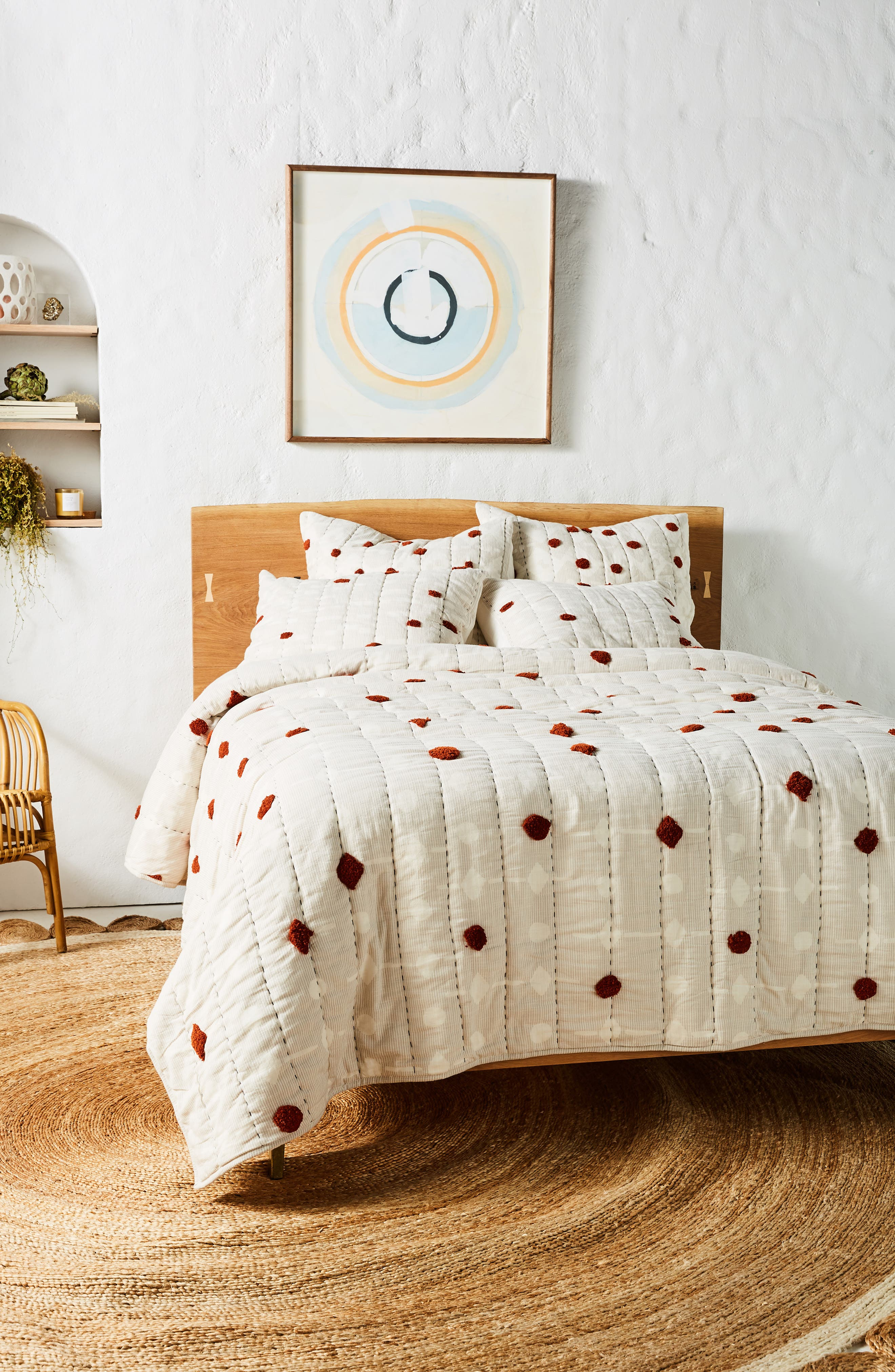 ANTHROPOLOGIE,                             Mesa Tufted Quilt,                             Alternate thumbnail 6, color,                             RUST