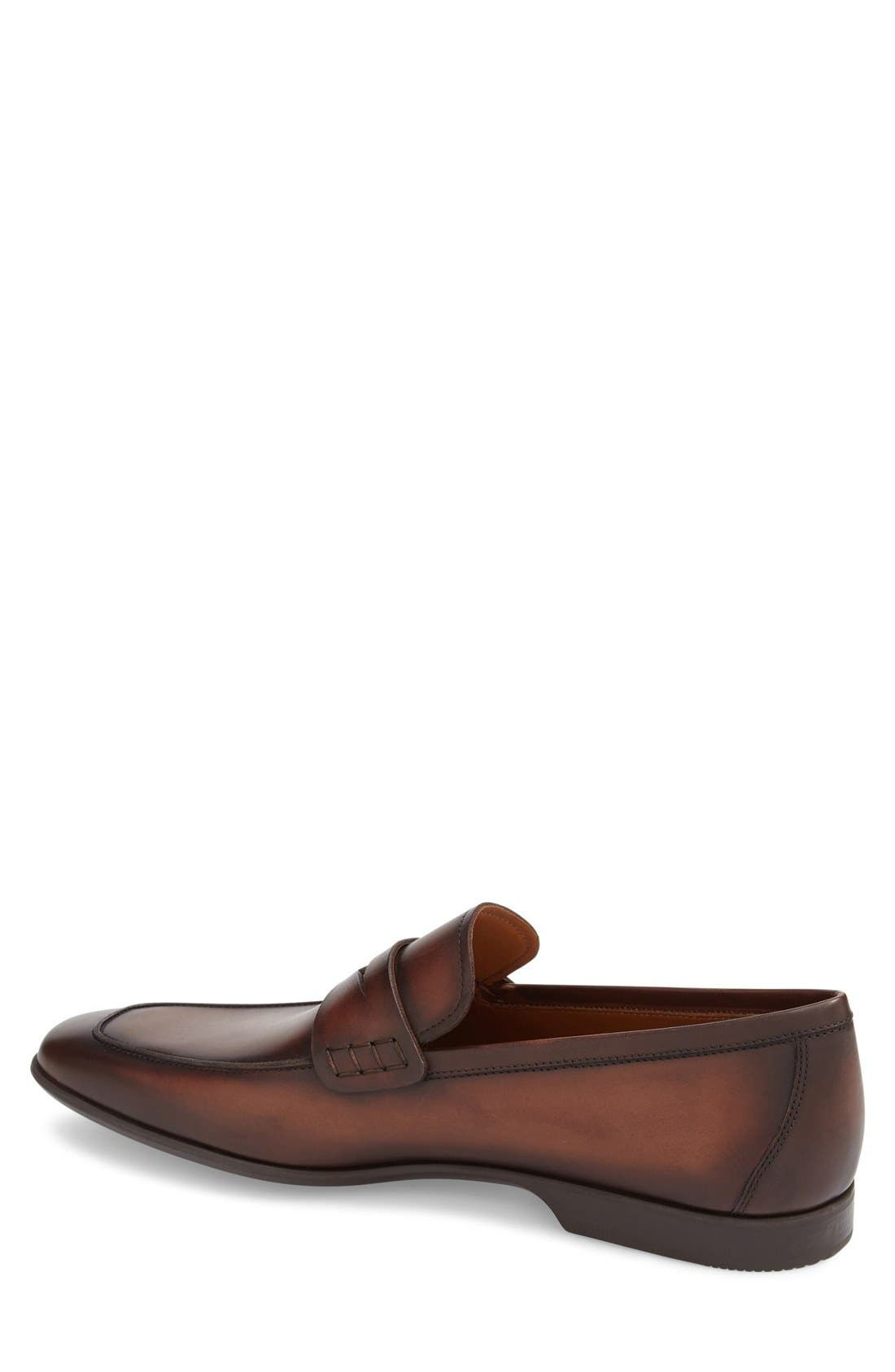 'Ramiro II' Penny Loafer,                             Alternate thumbnail 3, color,                             MID BROWN LEATHER