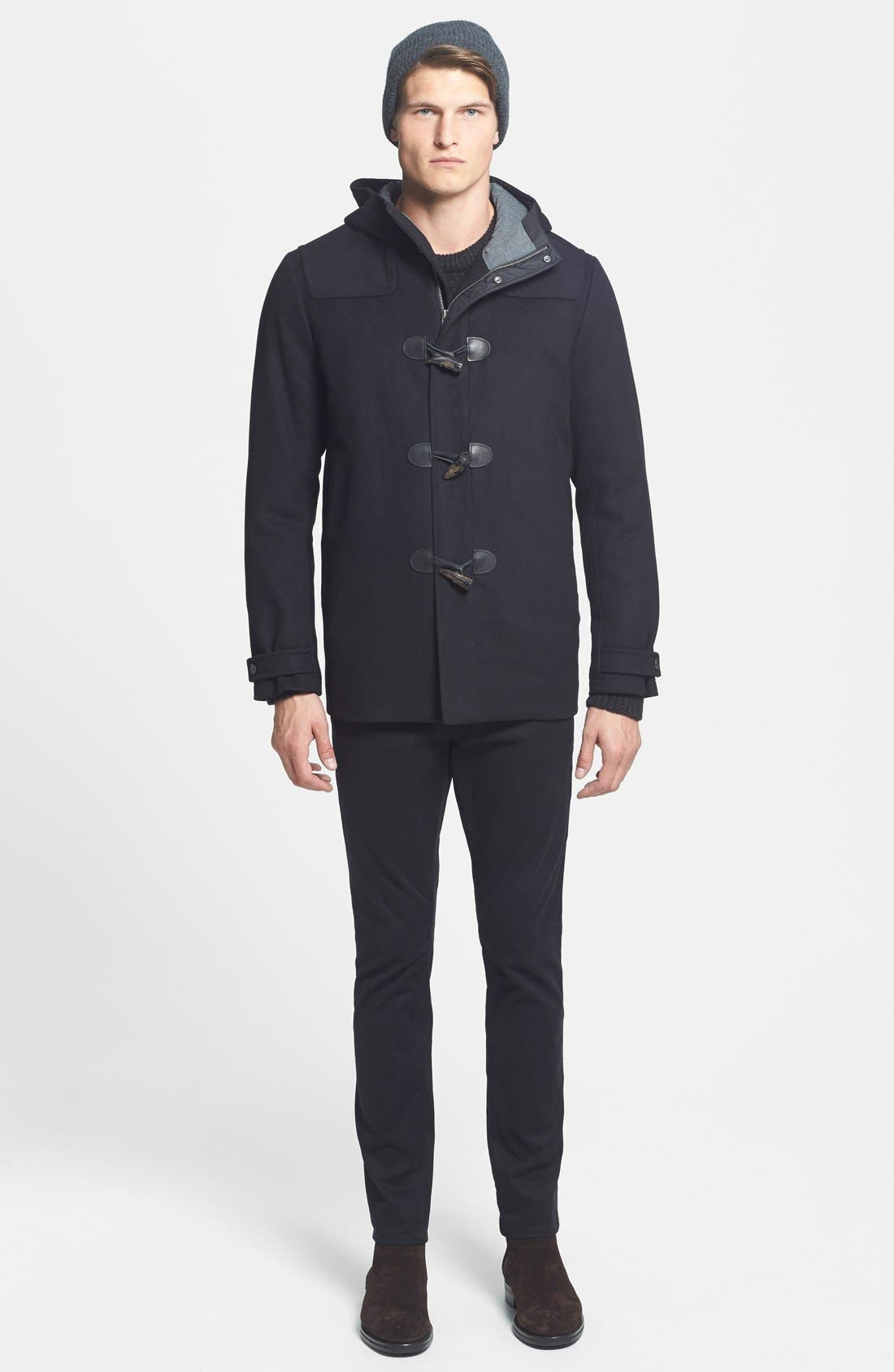 'City' Wool Blend Hooded Toggle Coat,                             Alternate thumbnail 3, color,                             001