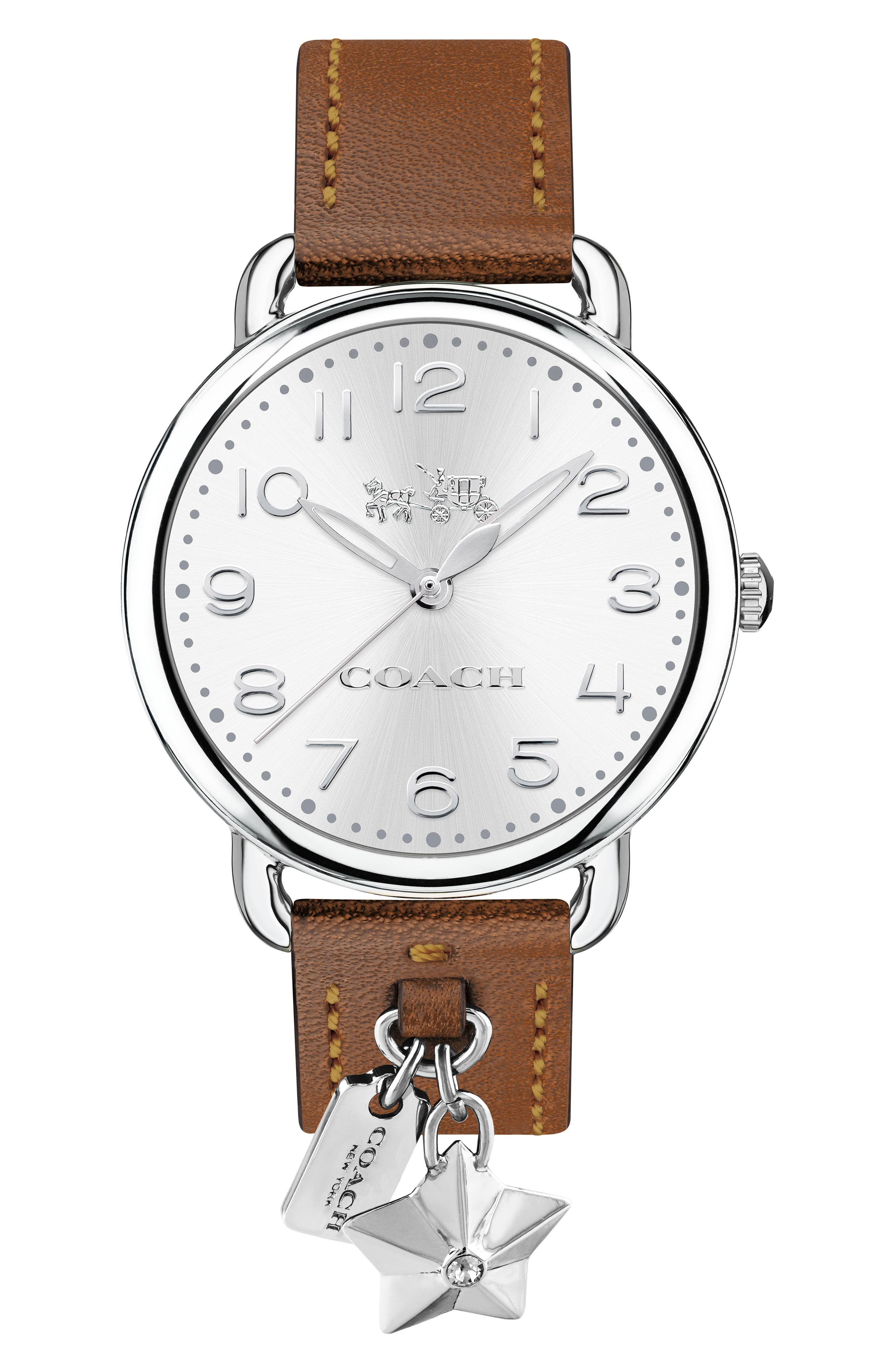 Delancey Charm Detail Leather Strap Watch, 36mm,                         Main,                         color, BROWN/ SILVER
