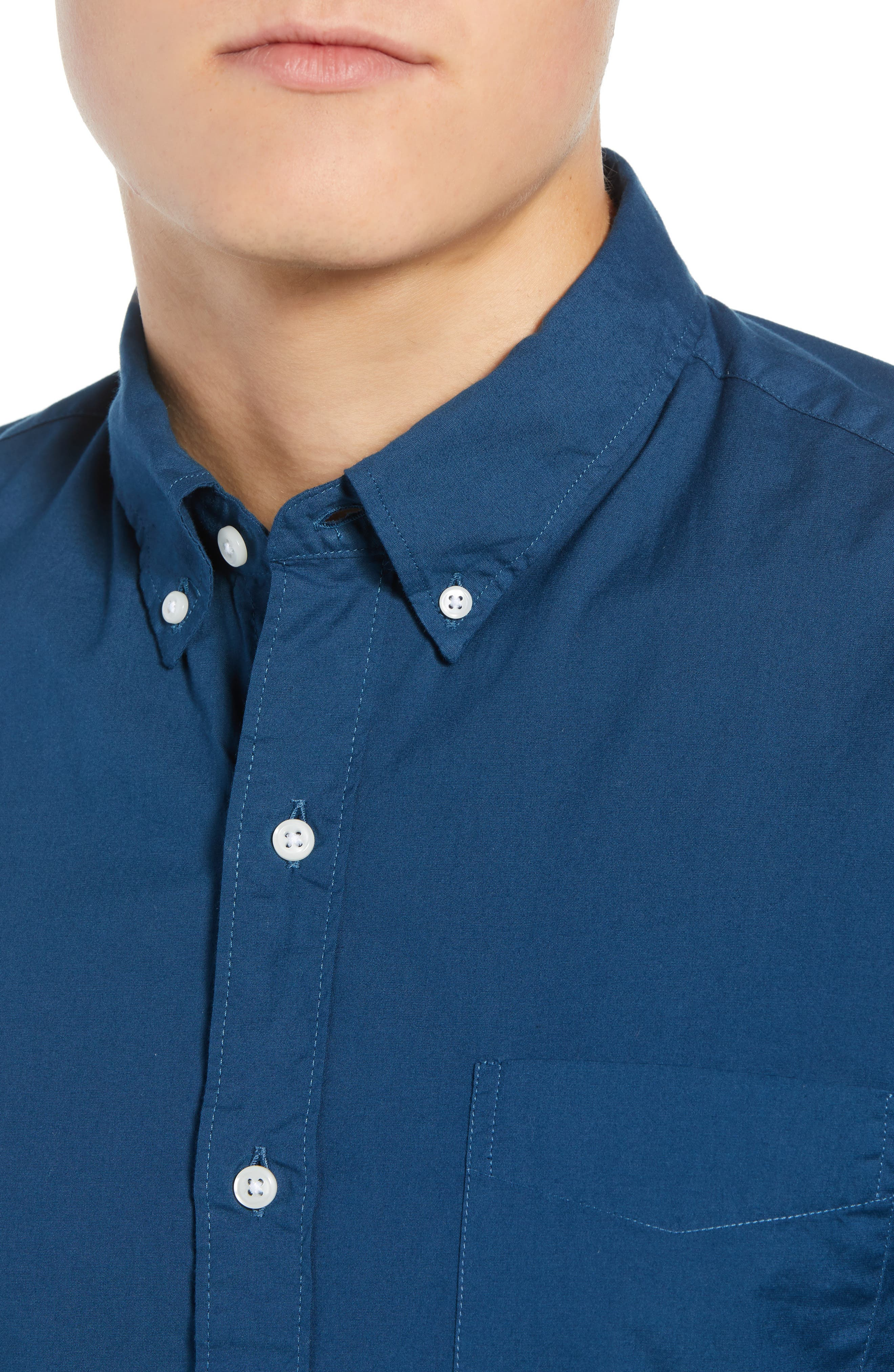 Slim Fit Stretch Secret Wash Garment Dyed Sport Shirt,                             Alternate thumbnail 4, color,