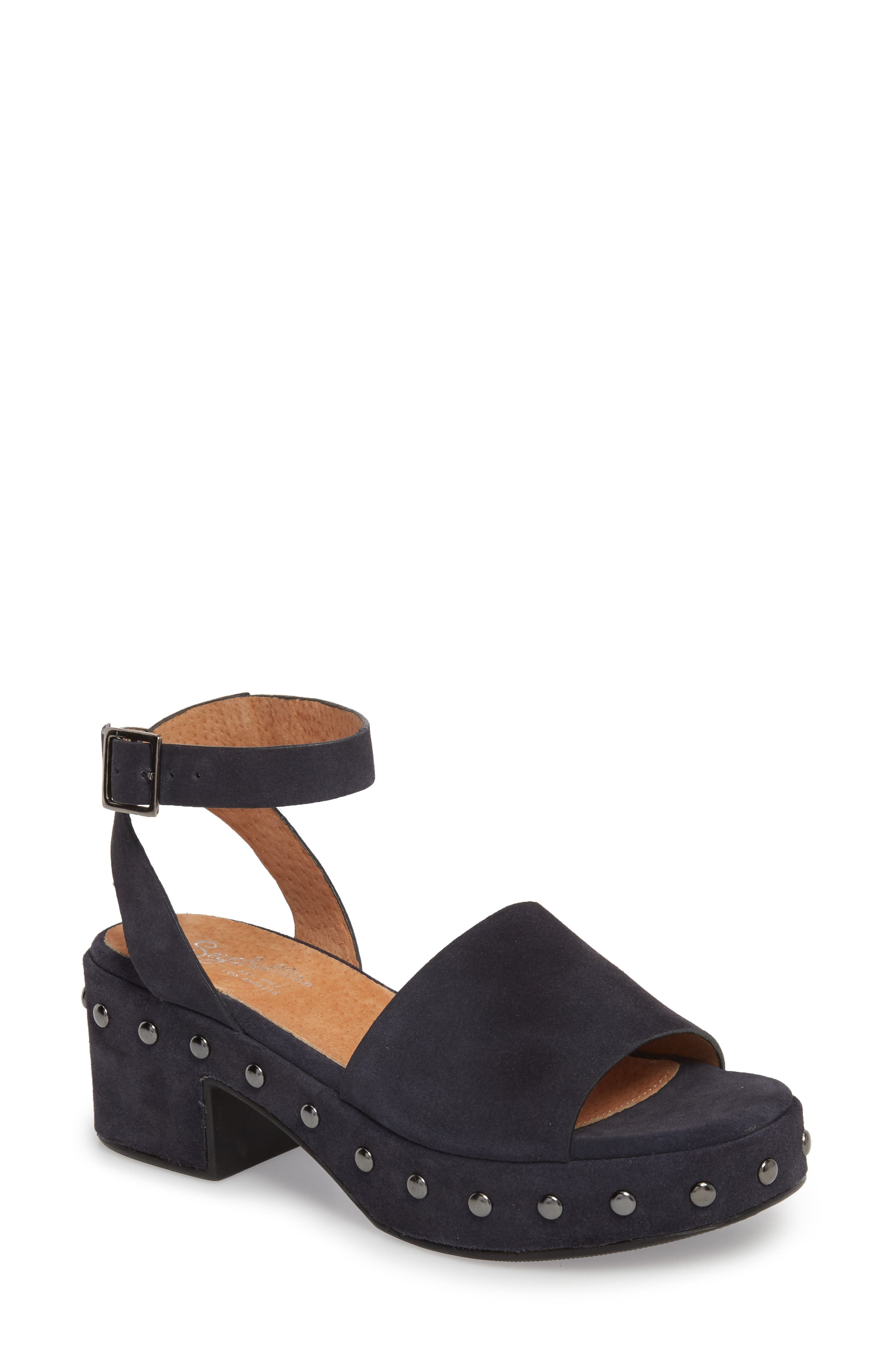 Spare Moments Sandal,                         Main,                         color, NAVY SUEDE