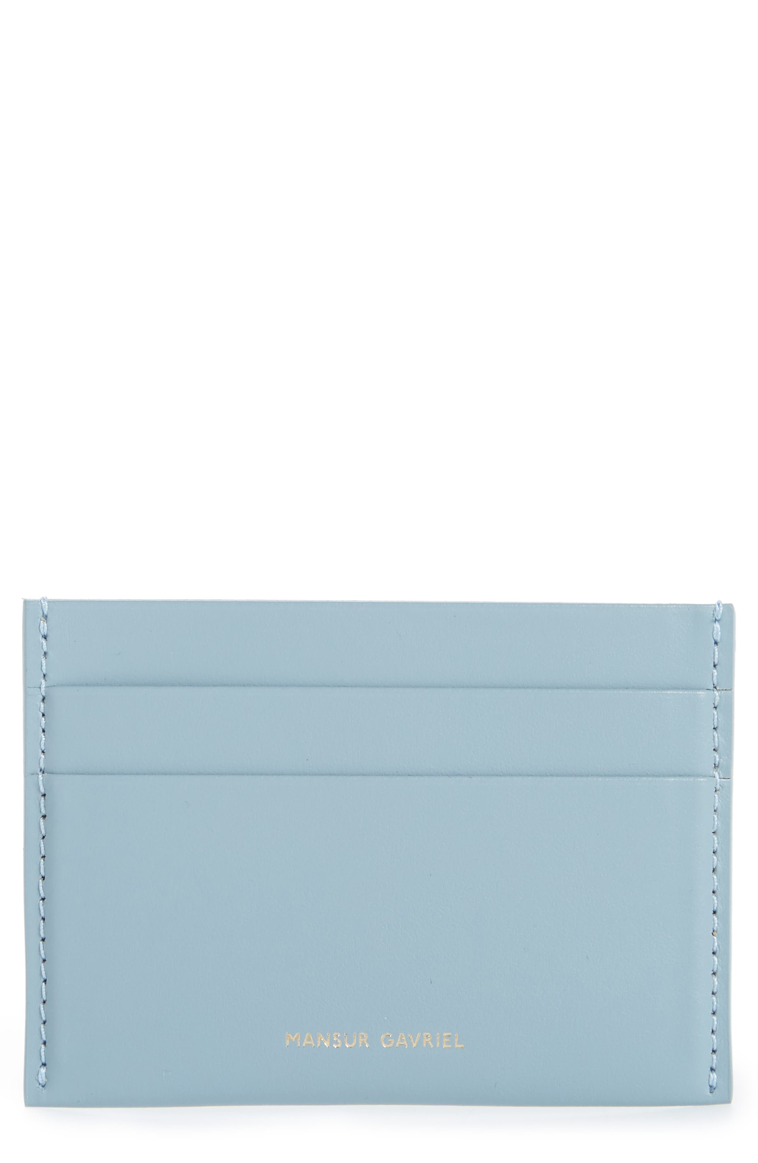 Leather Card Holder,                             Main thumbnail 1, color,                             GREY BLUE