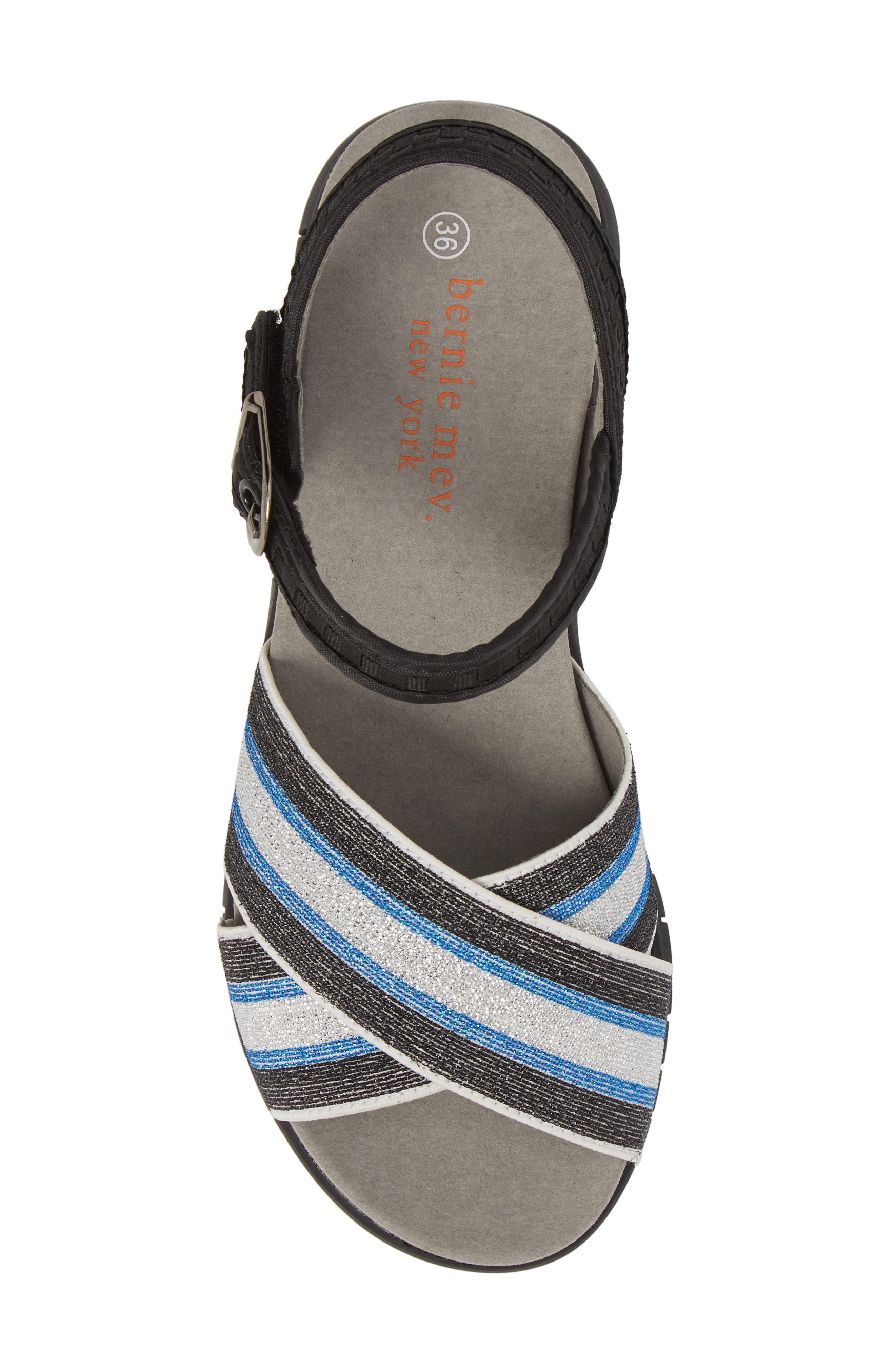 Malibu Sandal,                             Alternate thumbnail 5, color,                             BLACK BLUE STRIPE FABRIC