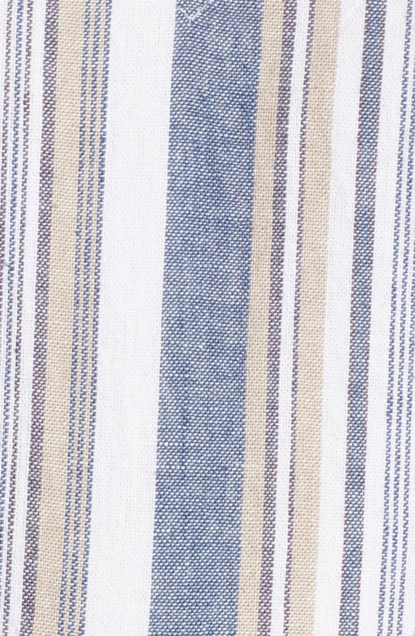 Stripe Button Front Fit & Flare Midi Dress,                             Alternate thumbnail 6, color,                             400
