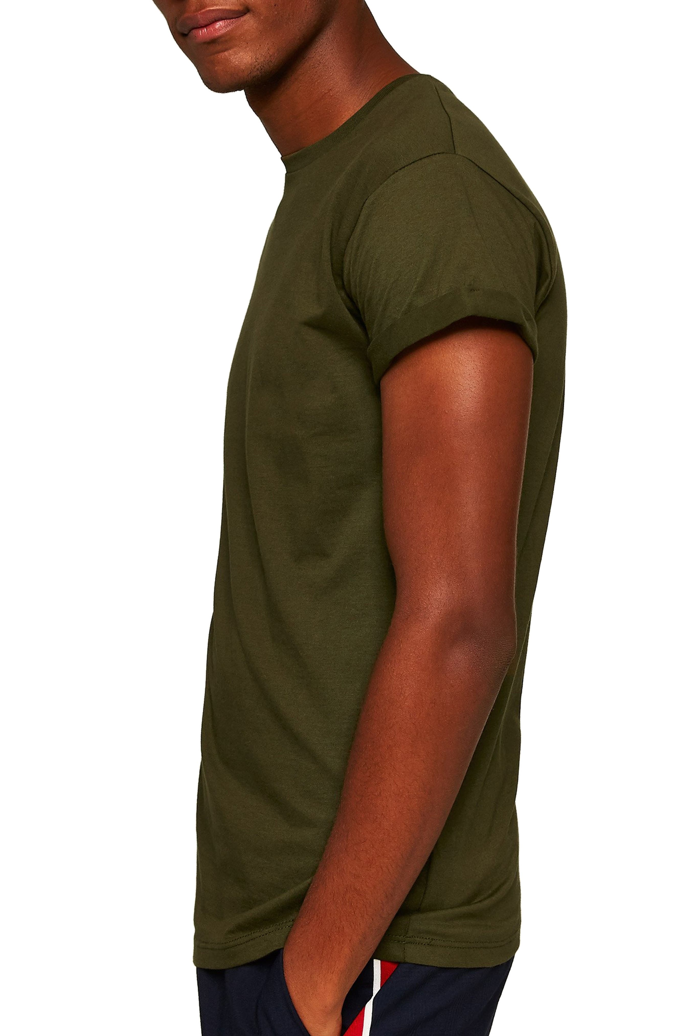 Muscle Fit Roller T-Shirt,                             Alternate thumbnail 3, color,                             OLIVE