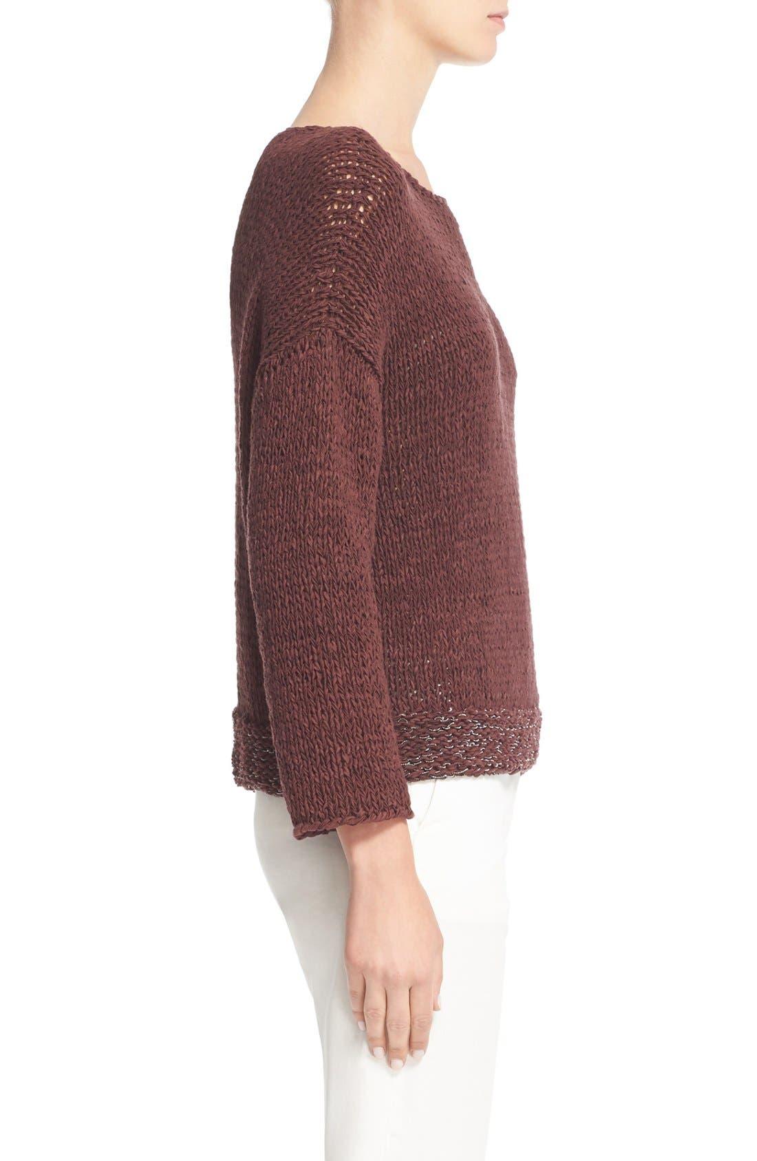 Mollini Trim Cotton Blend Sweater,                             Alternate thumbnail 5, color,                             601