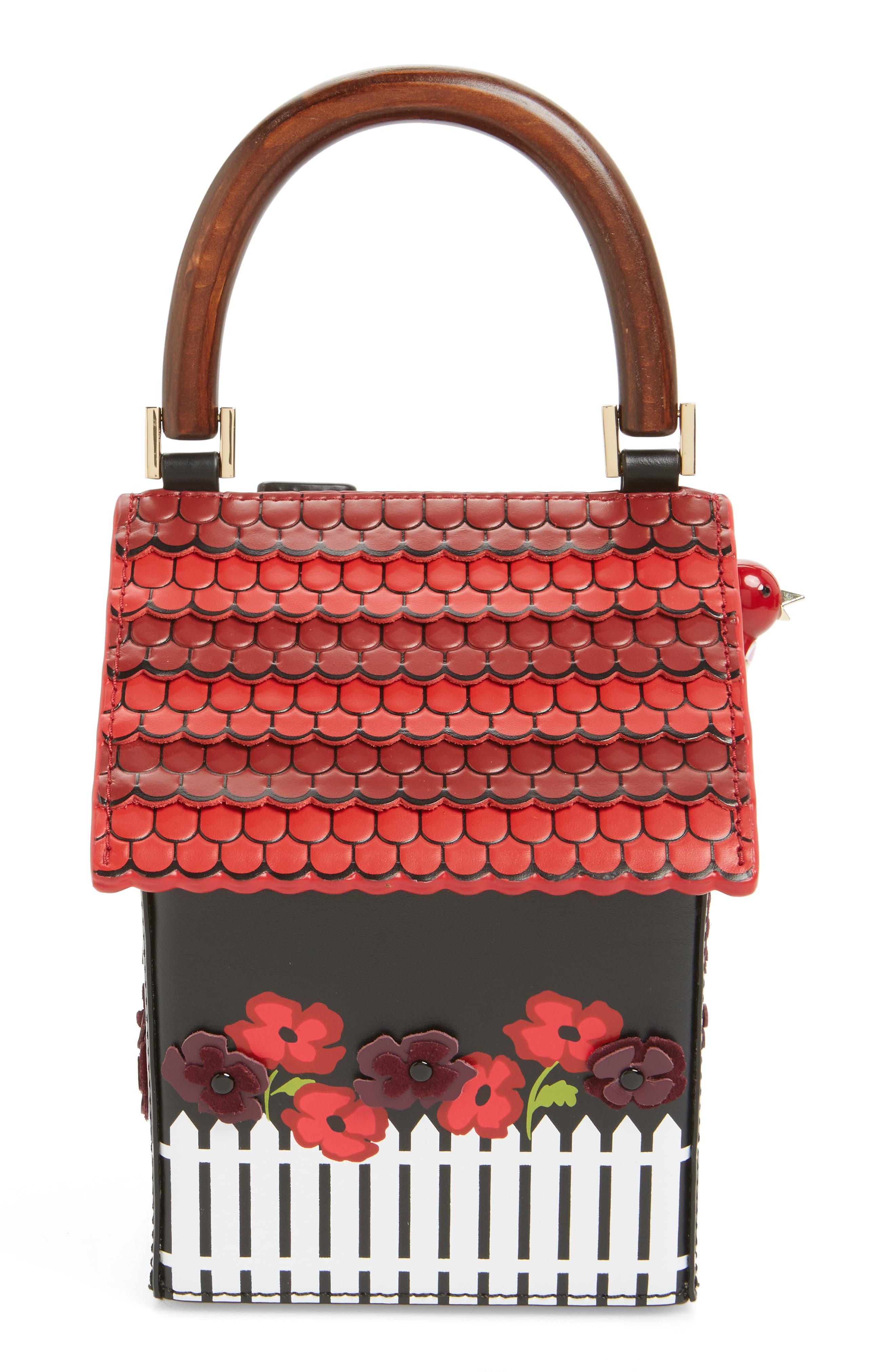 ooh la la cuckoo clock leather handbag,                             Alternate thumbnail 3, color,                             001