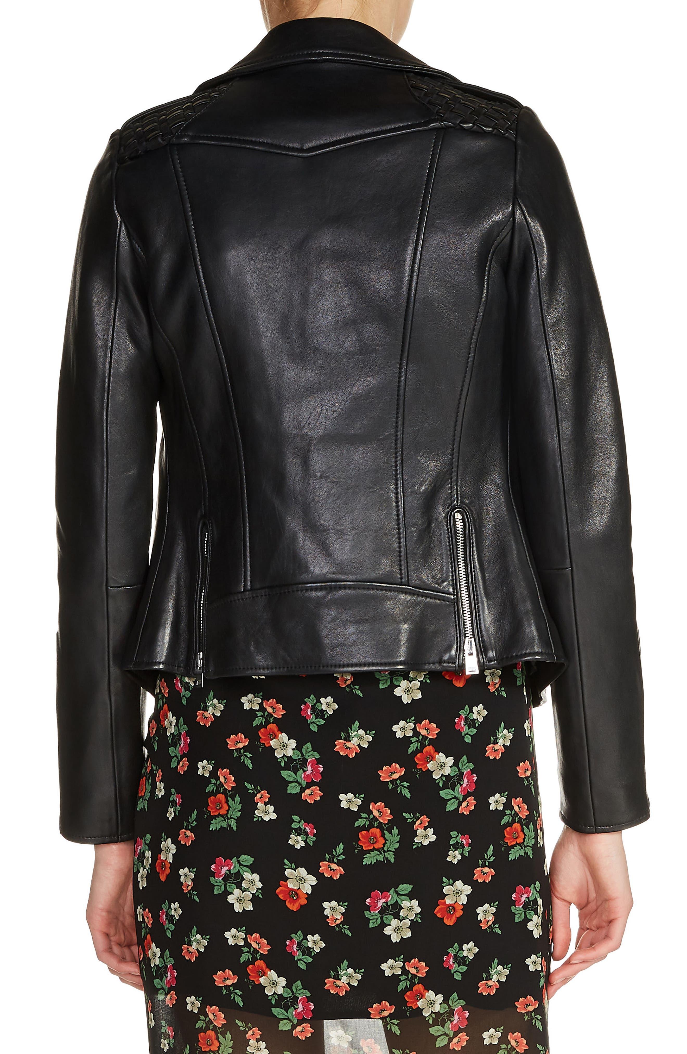 Braided Shoulder Leather Jacket,                             Alternate thumbnail 2, color,                             001