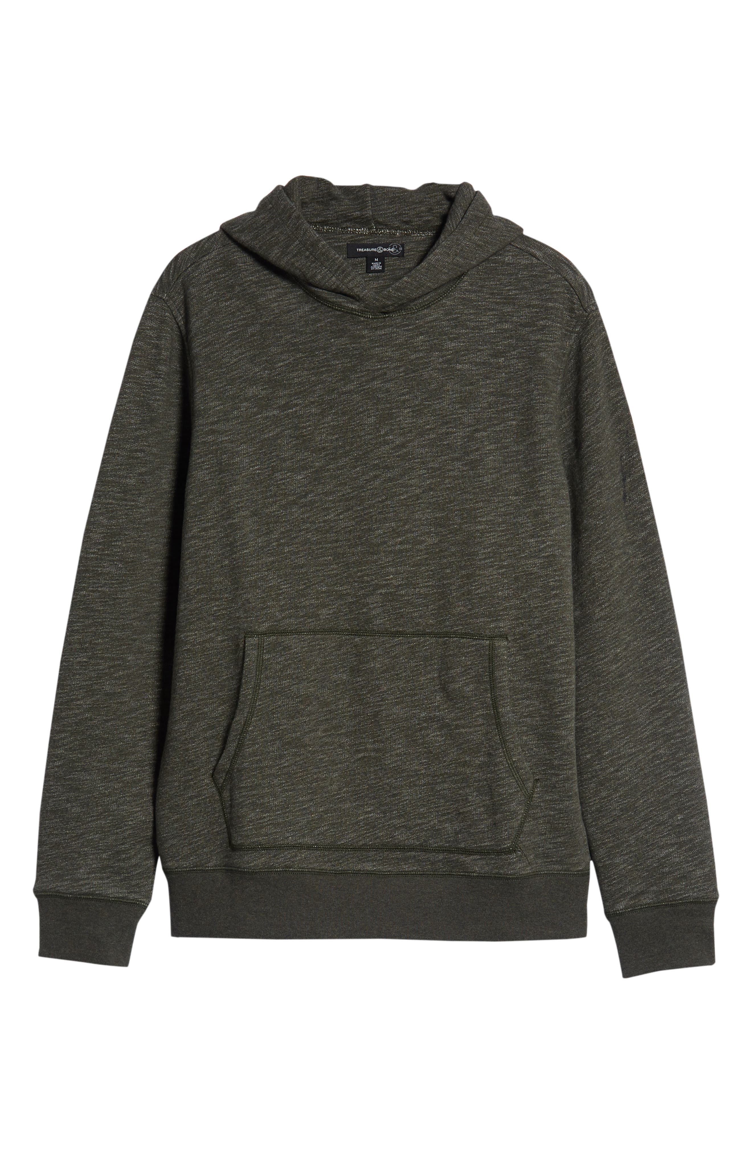Regular Fit French Terry Pullover Hoodie,                             Alternate thumbnail 6, color,                             OLIVE DARK HEATHER