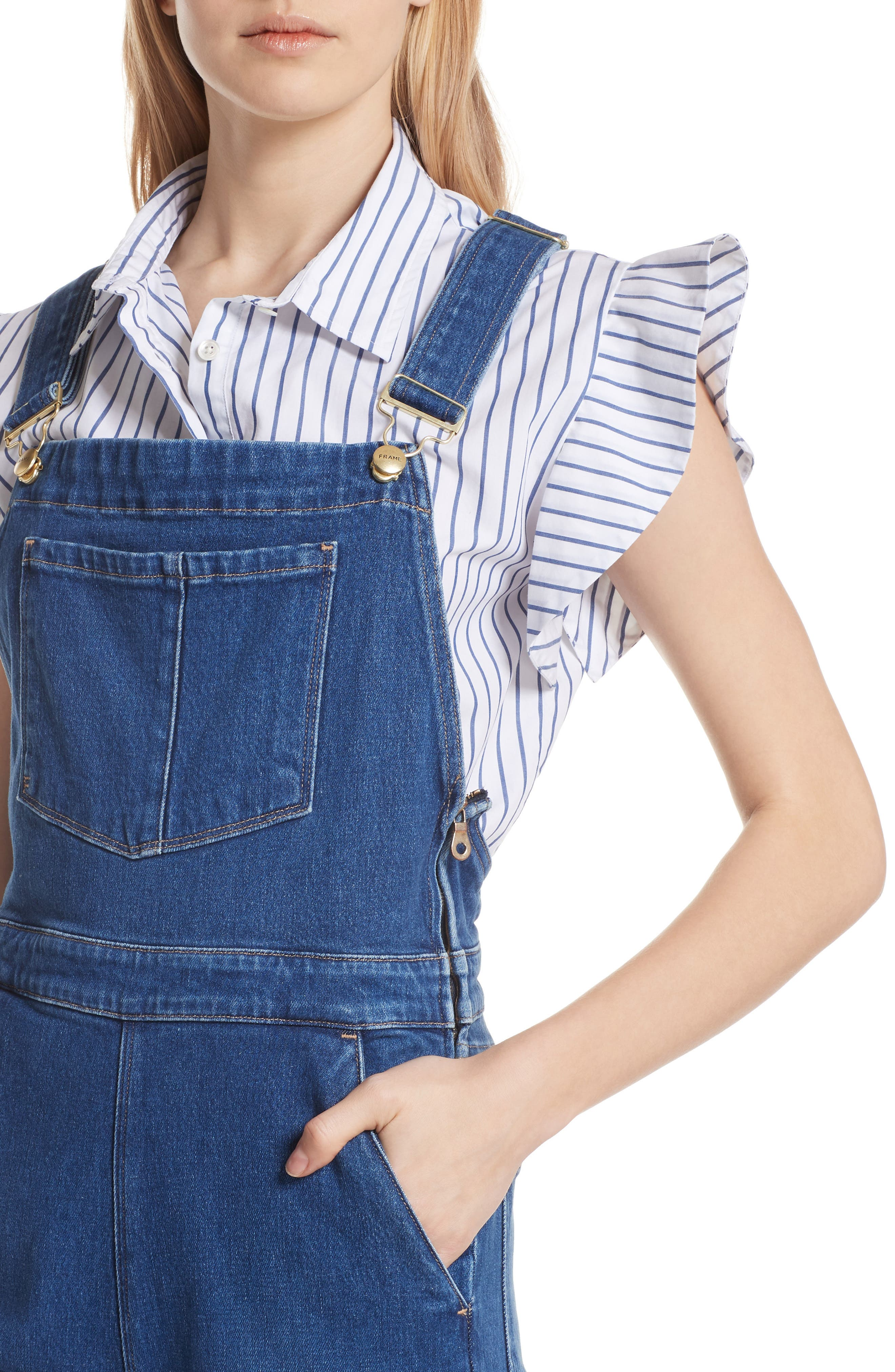 FRAME,                             Palazzo Wide Leg Denim Overalls,                             Alternate thumbnail 4, color,                             420