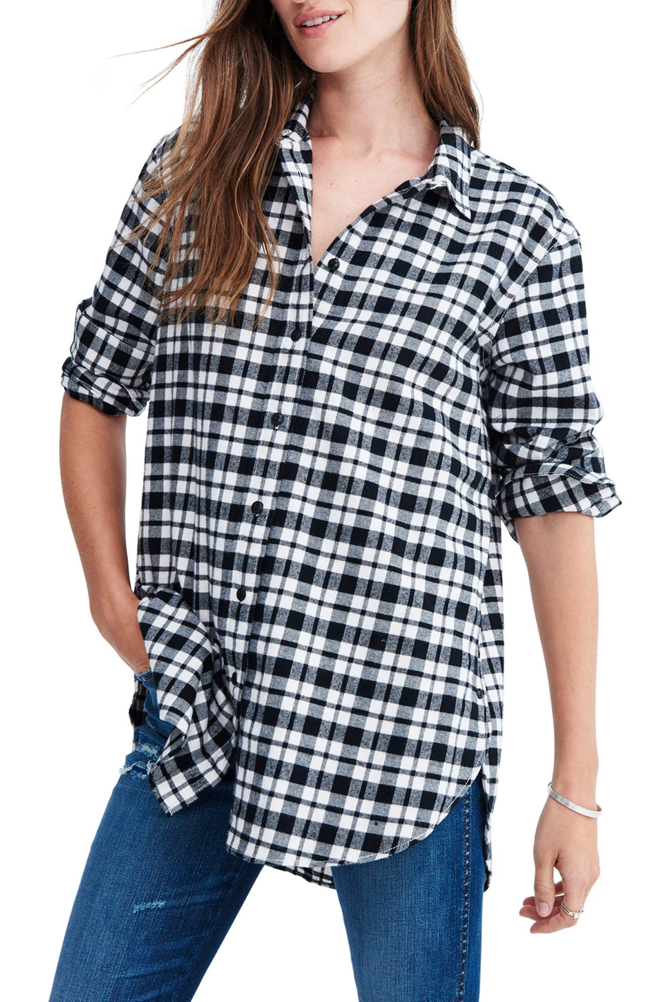 Oversize Flannel Shirt,                         Main,                         color, CLASSIC BLACK