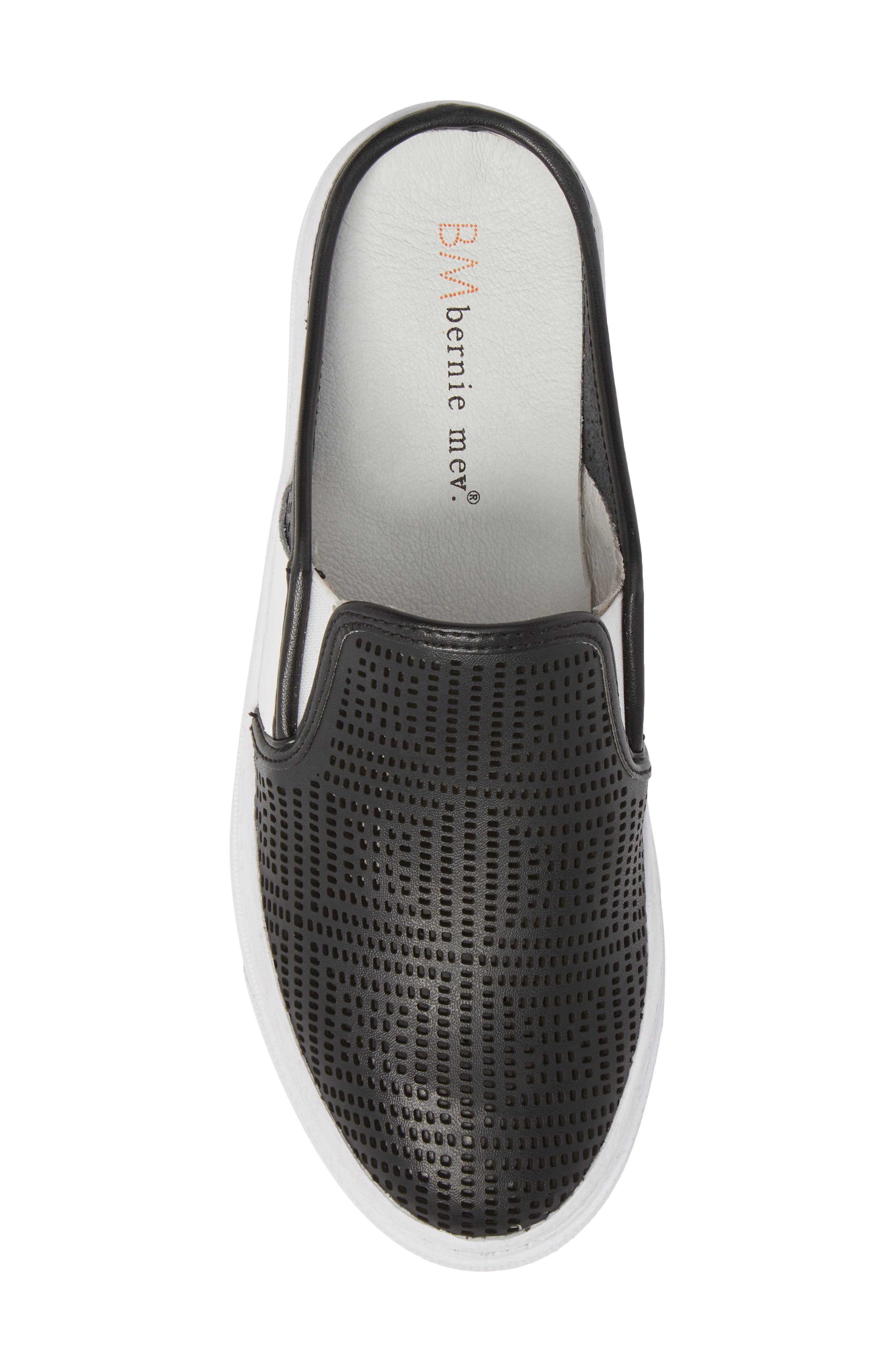 Perforated Backless Sneaker,                             Alternate thumbnail 5, color,                             BLACK LEATHER