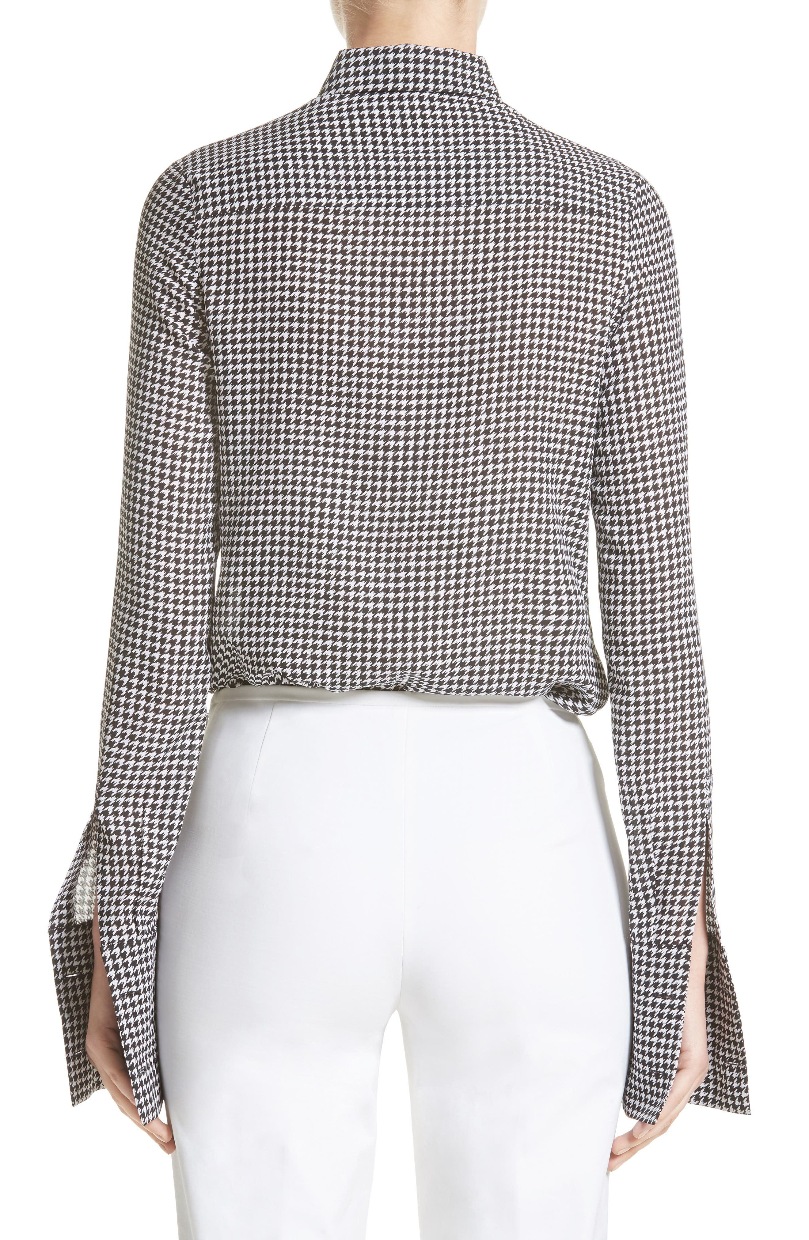 Houndstooth Silk Georgette Shirt,                             Alternate thumbnail 2, color,                             003