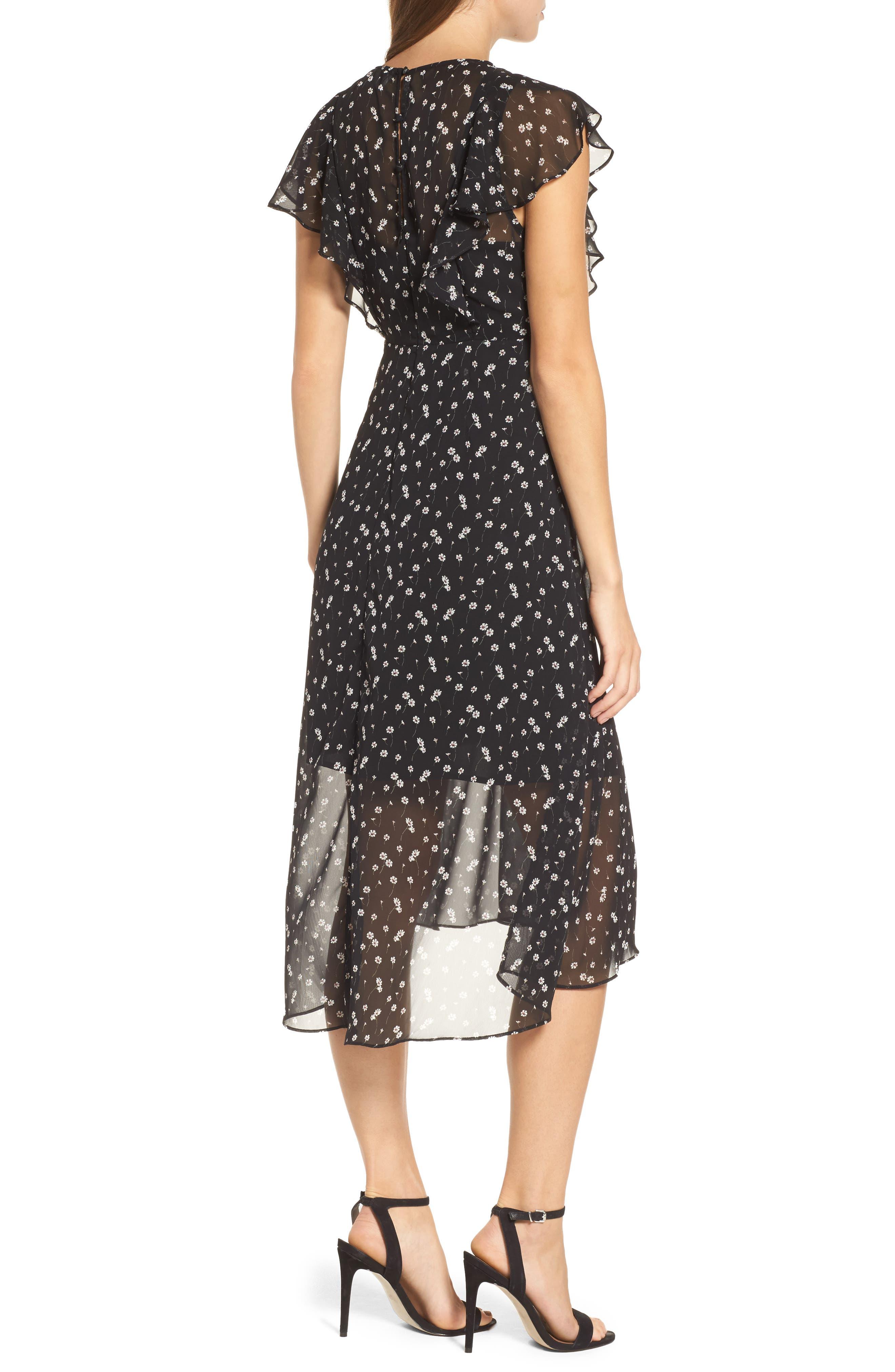 Leona Floral Print Midi Dress,                             Alternate thumbnail 2, color,