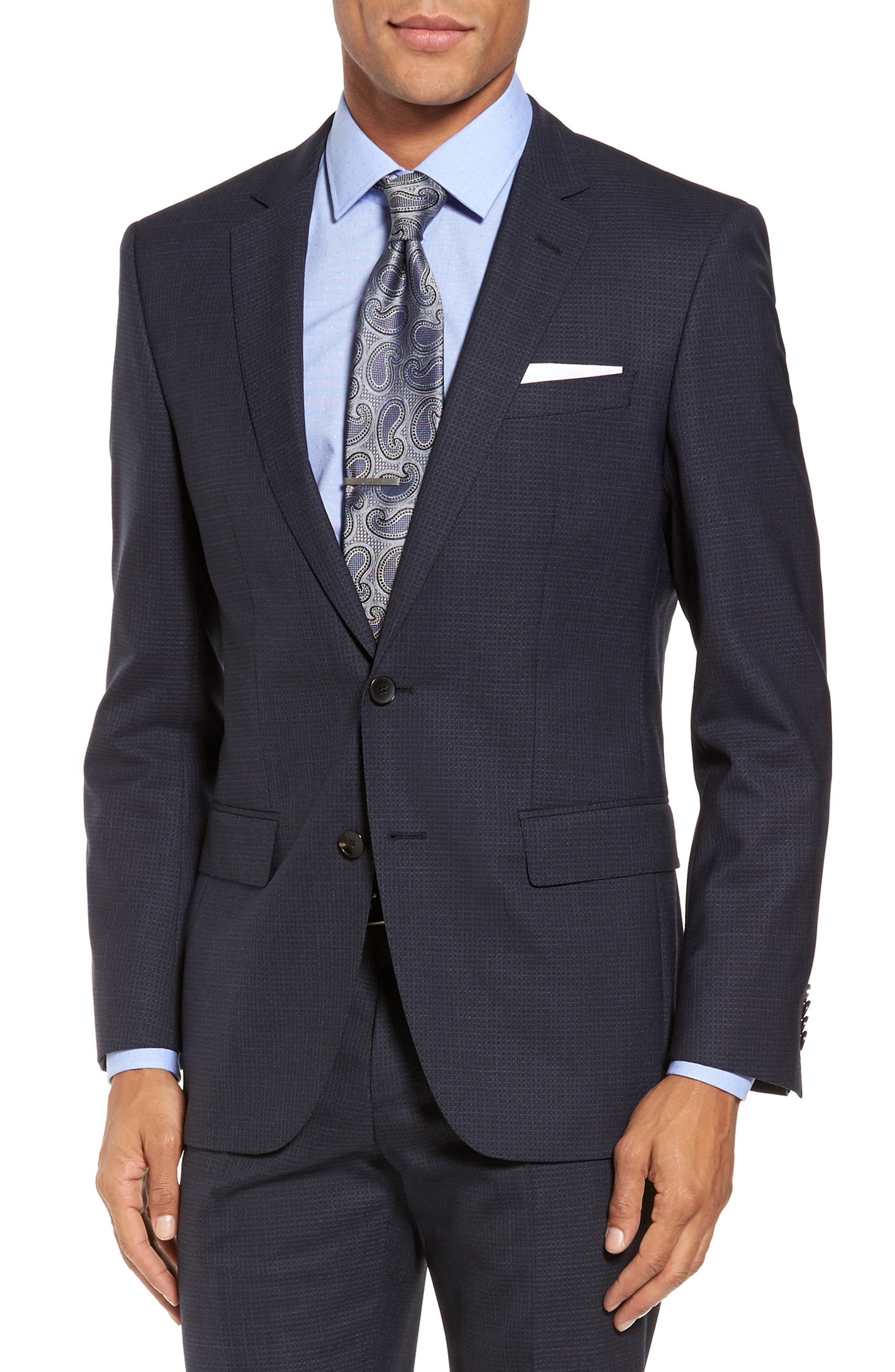Huge/Genius Trim Fit Check Wool Suit,                             Alternate thumbnail 5, color,                             409