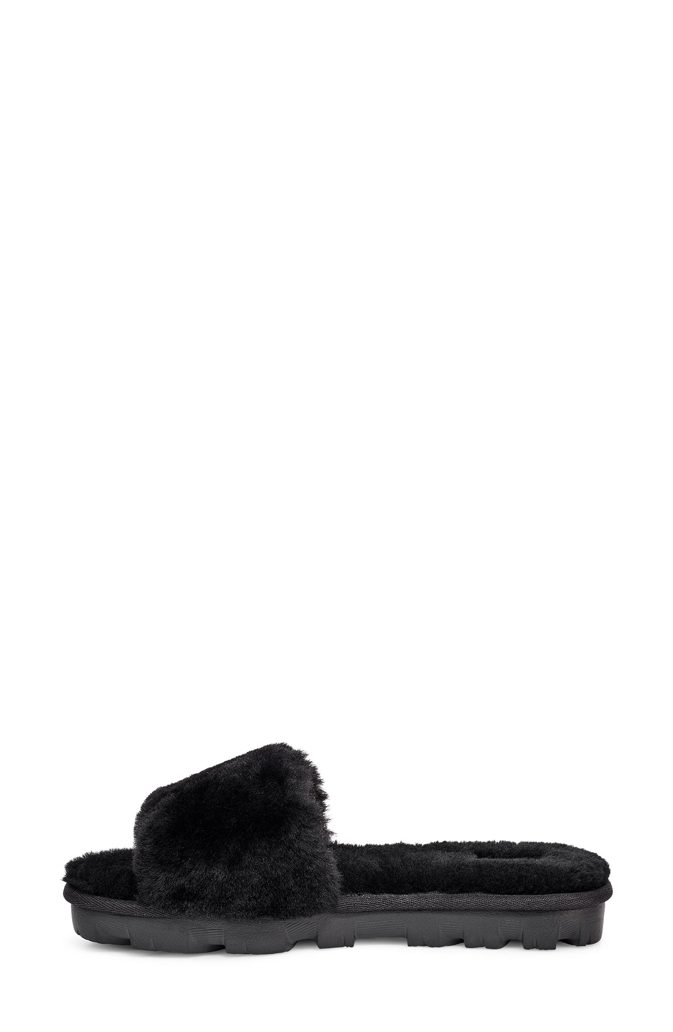 Cosette Genuine Shearling Slipper,                             Alternate thumbnail 6, color,                             BLACK