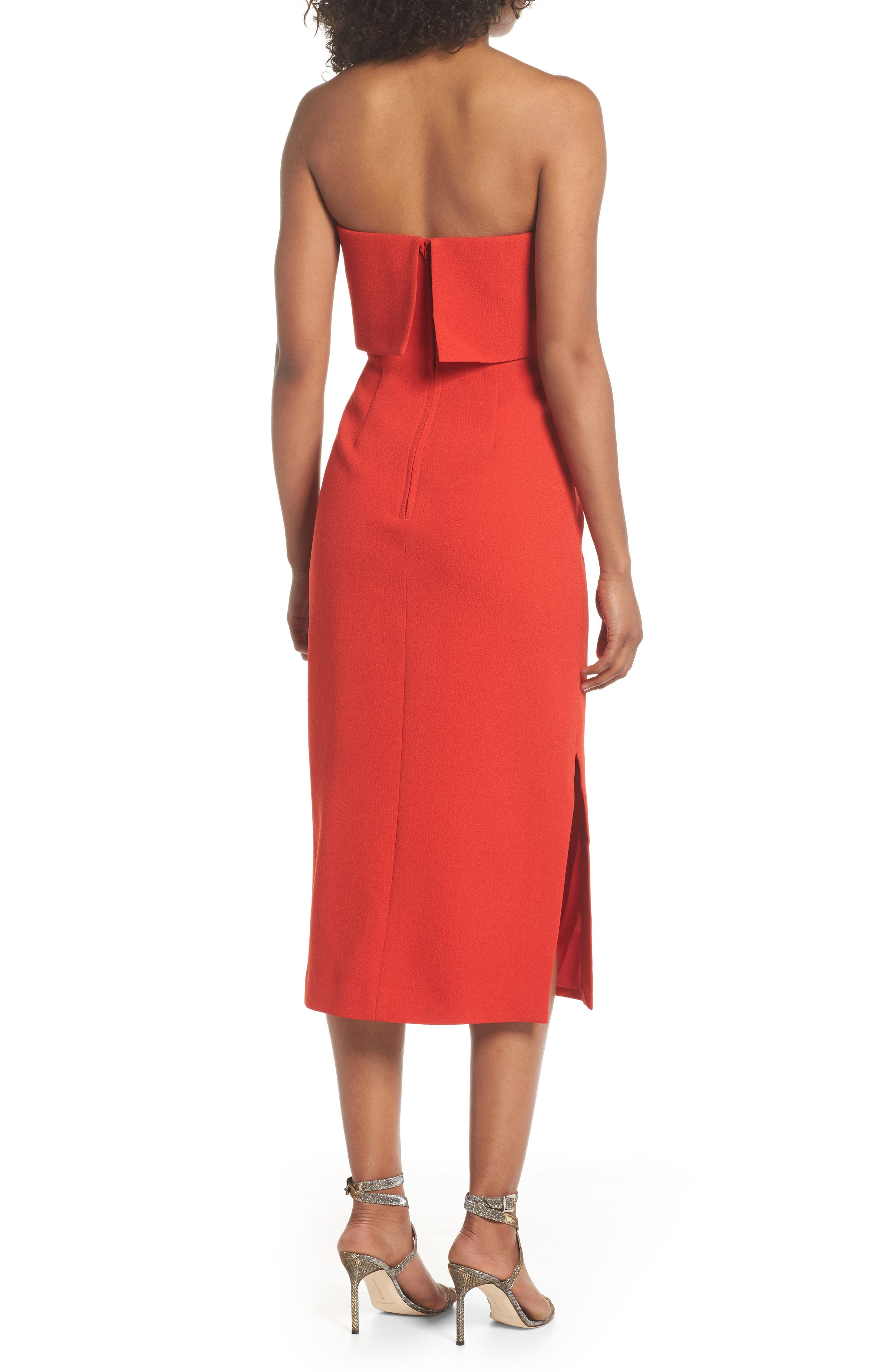 Entice Strapless Midi Dress,                             Alternate thumbnail 2, color,