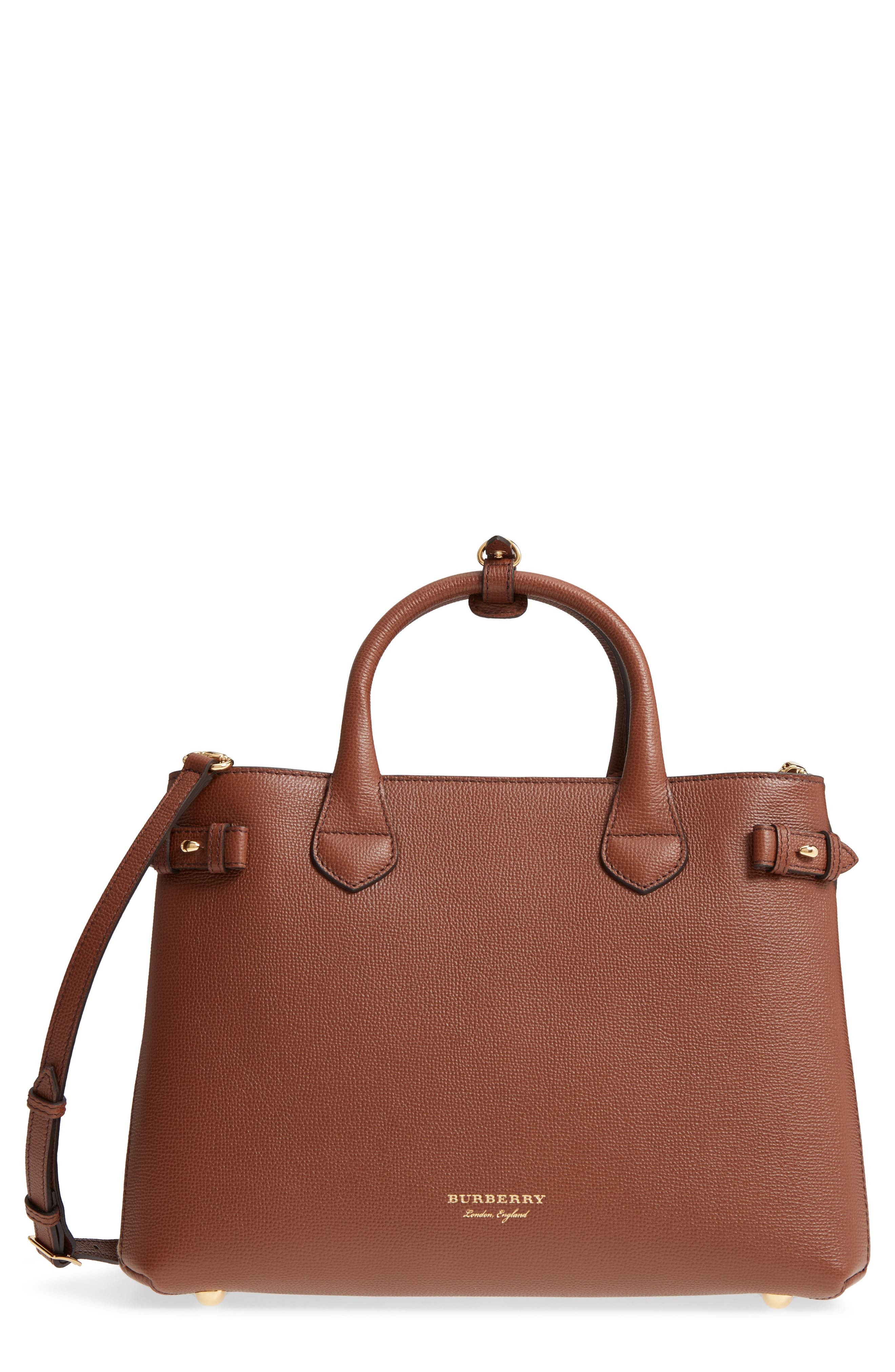 Medium Banner House Check Leather Tote,                         Main,                         color, TAN