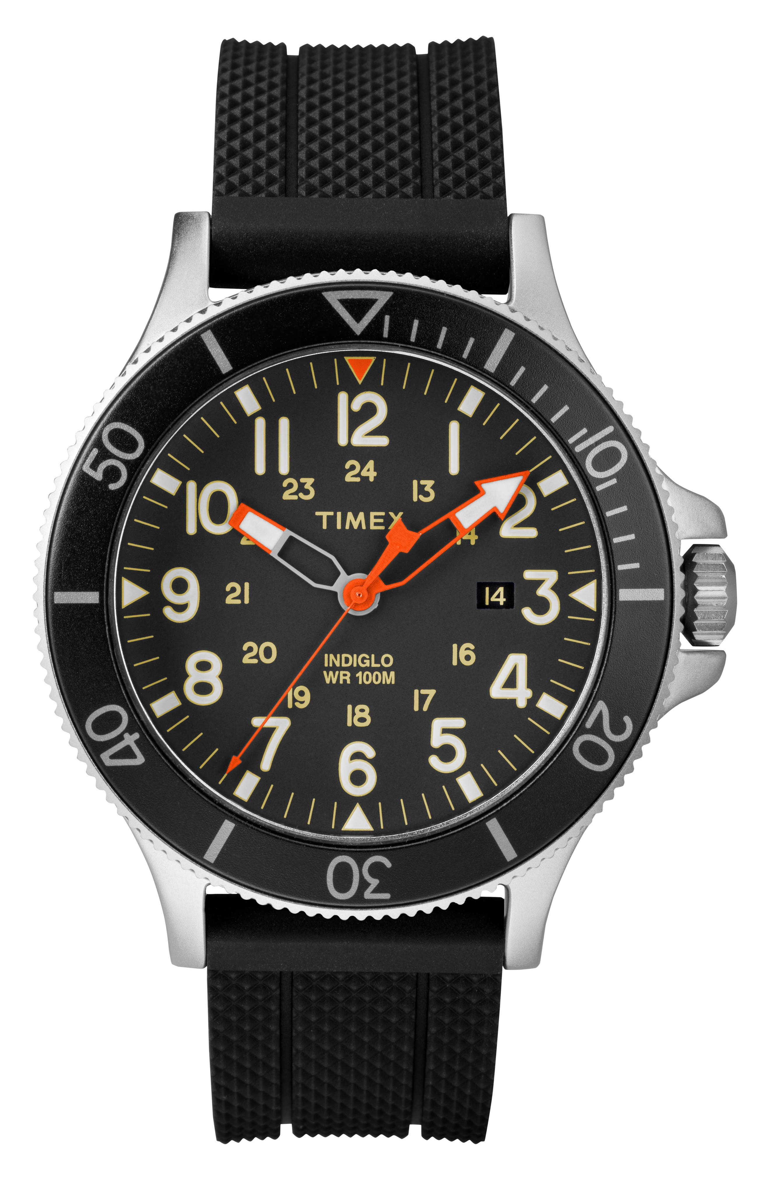 TIMEX<SUP>®</SUP>,                             Allied Silicone Strap Watch, 43mm,                             Main thumbnail 1, color,                             007