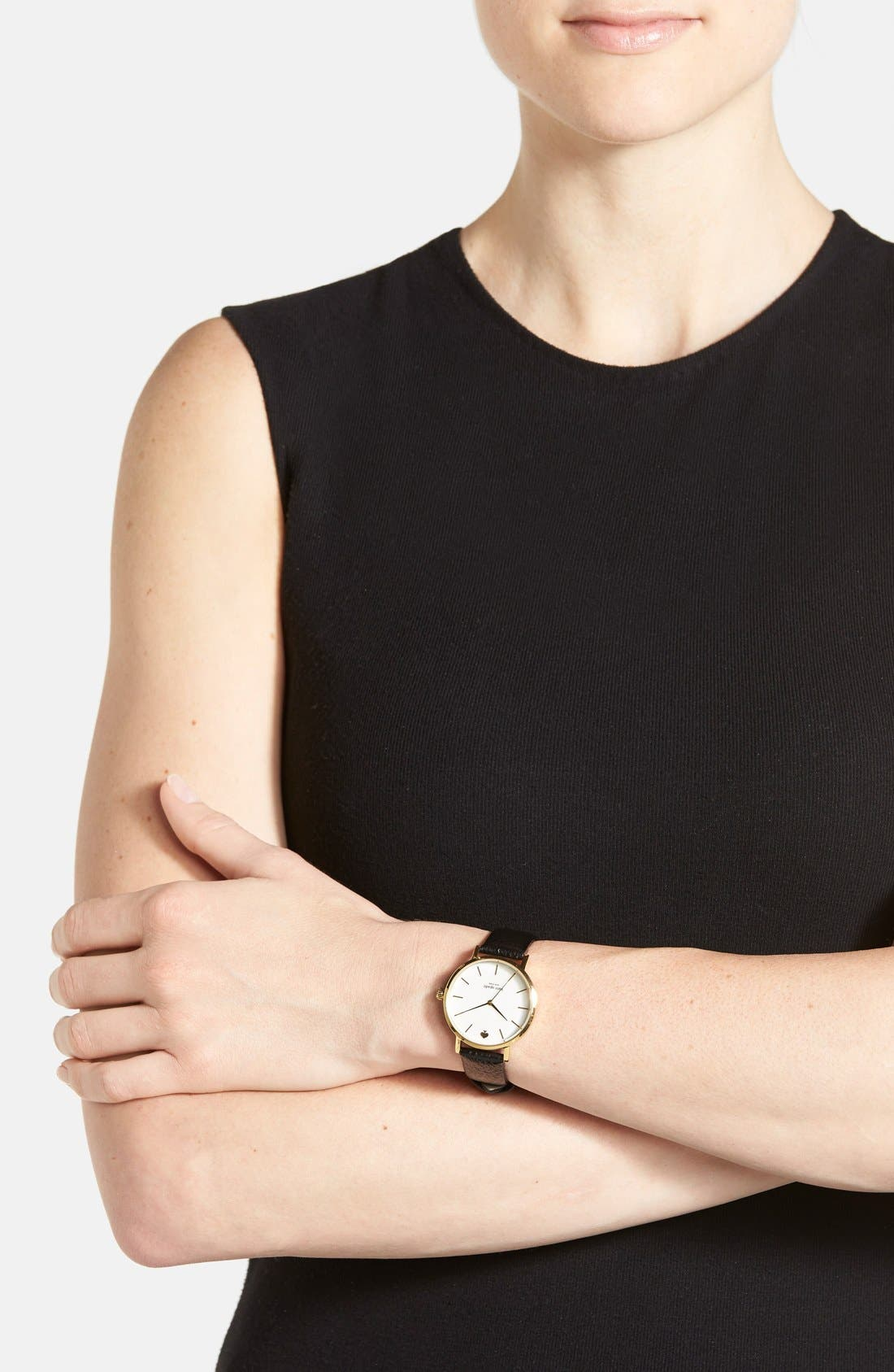KATE SPADE NEW YORK,                             'metro' round leather strap watch, 34mm,                             Alternate thumbnail 3, color,                             001