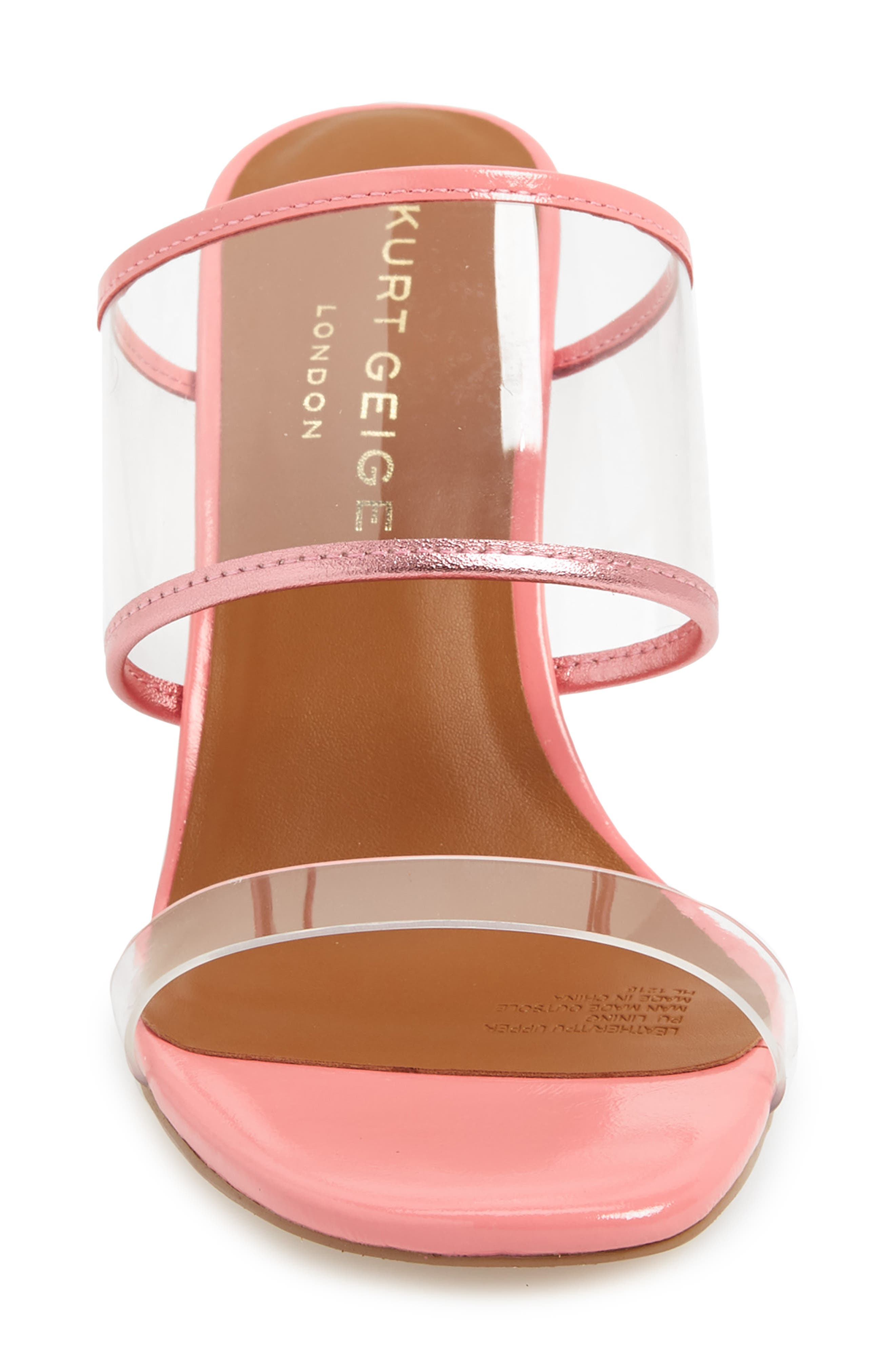 KURT GEIGER LONDON,                             Charing Wedge Slide Sandal,                             Alternate thumbnail 4, color,                             PINK FAUX LEATHER