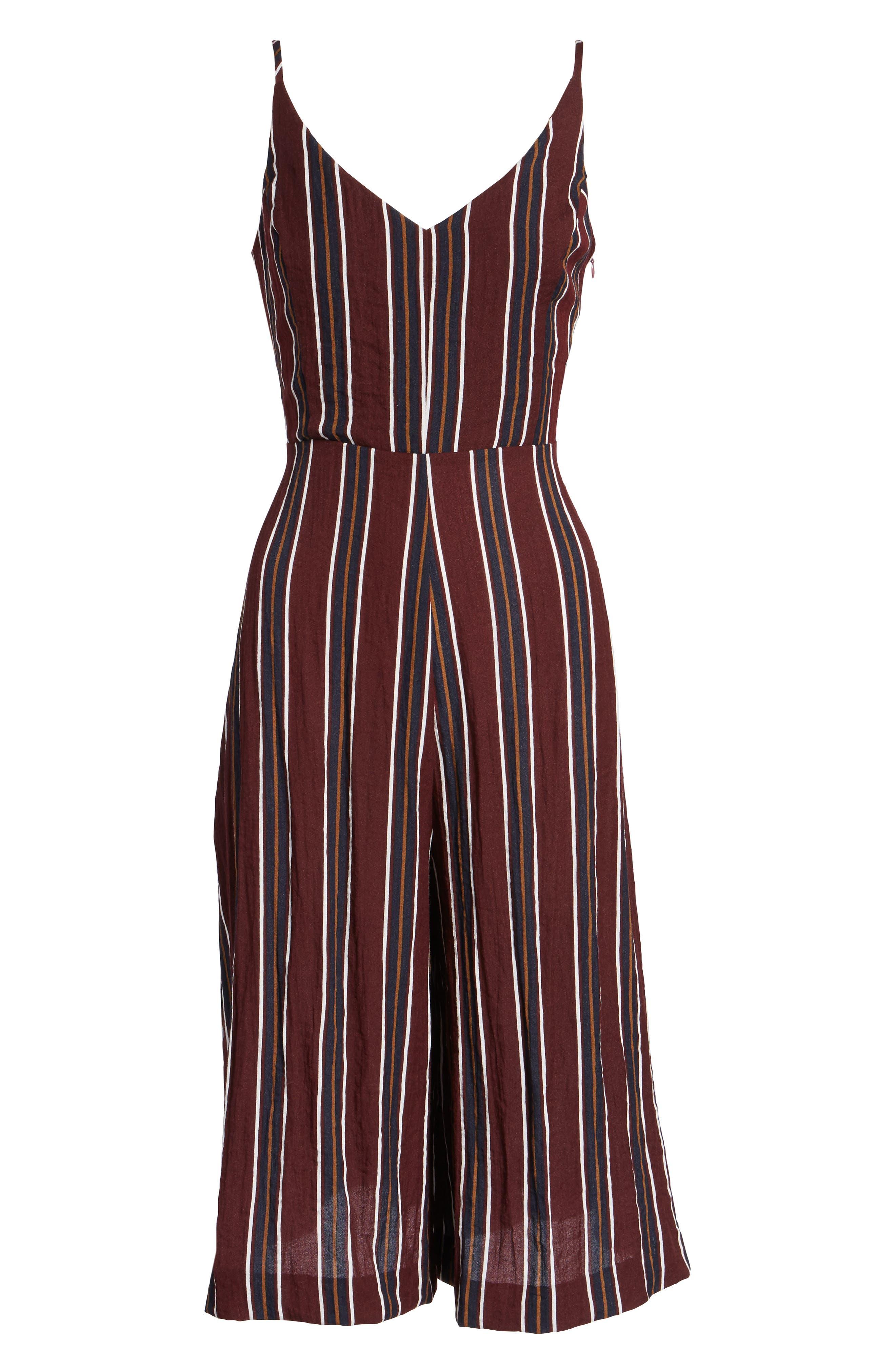 Stripe Wide Leg Jumpsuit,                             Alternate thumbnail 6, color,                             930