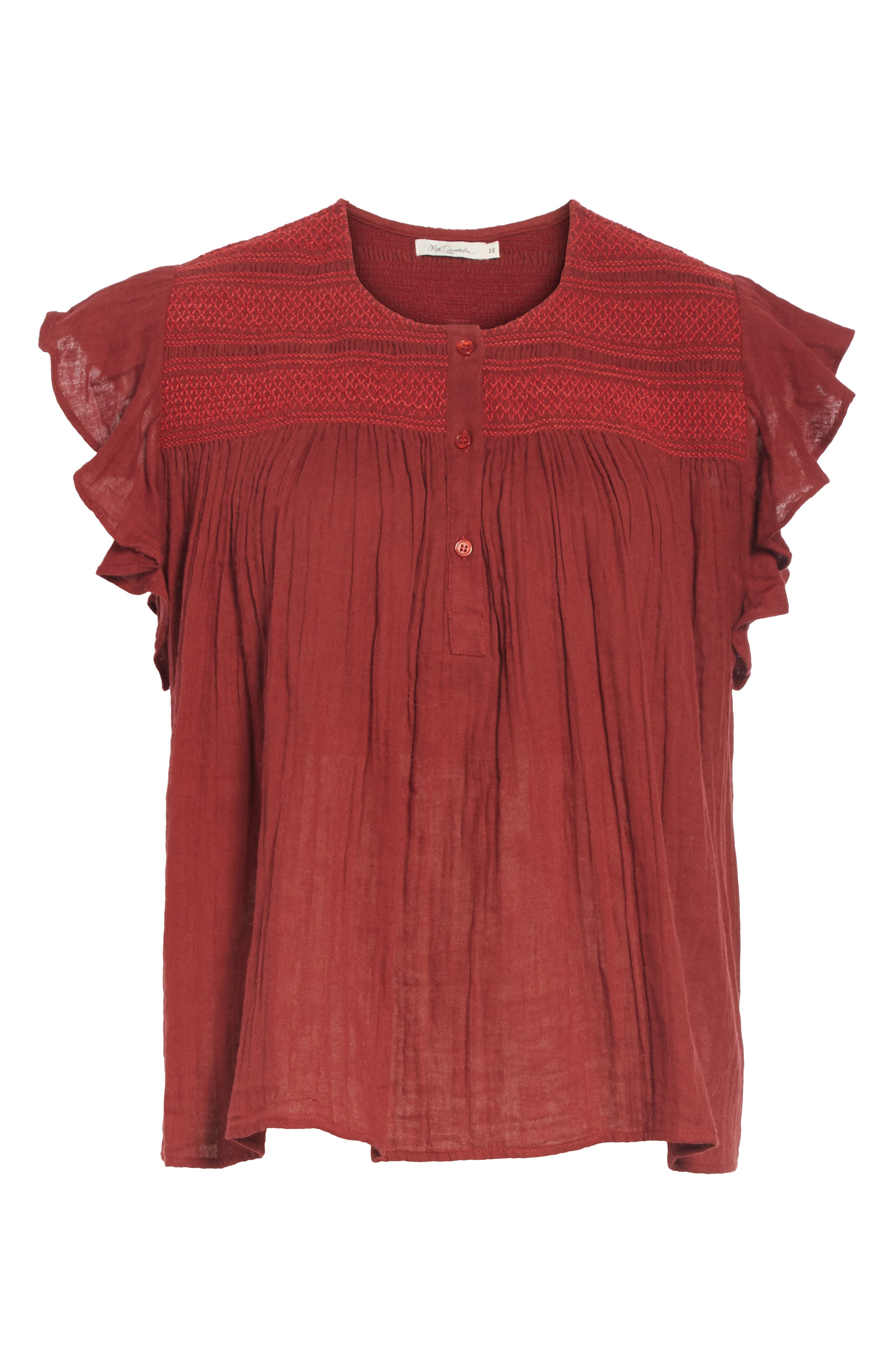 Trissotin Smocked Cotton Blouse,                             Alternate thumbnail 6, color,                             RED