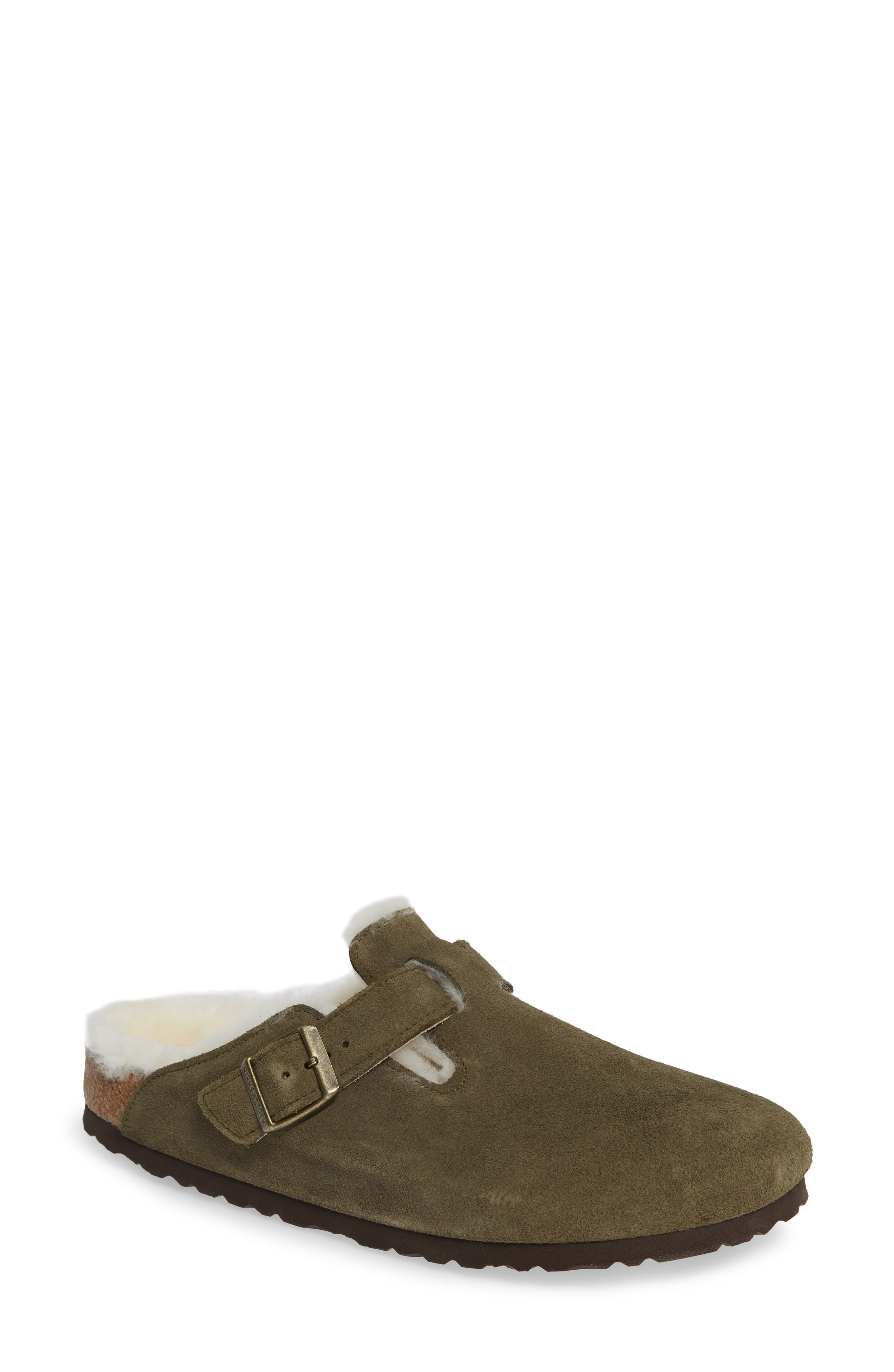 'Boston' Genuine Shearling Lined Clog,                             Main thumbnail 1, color,                             FOREST/ NATURAL SUEDE