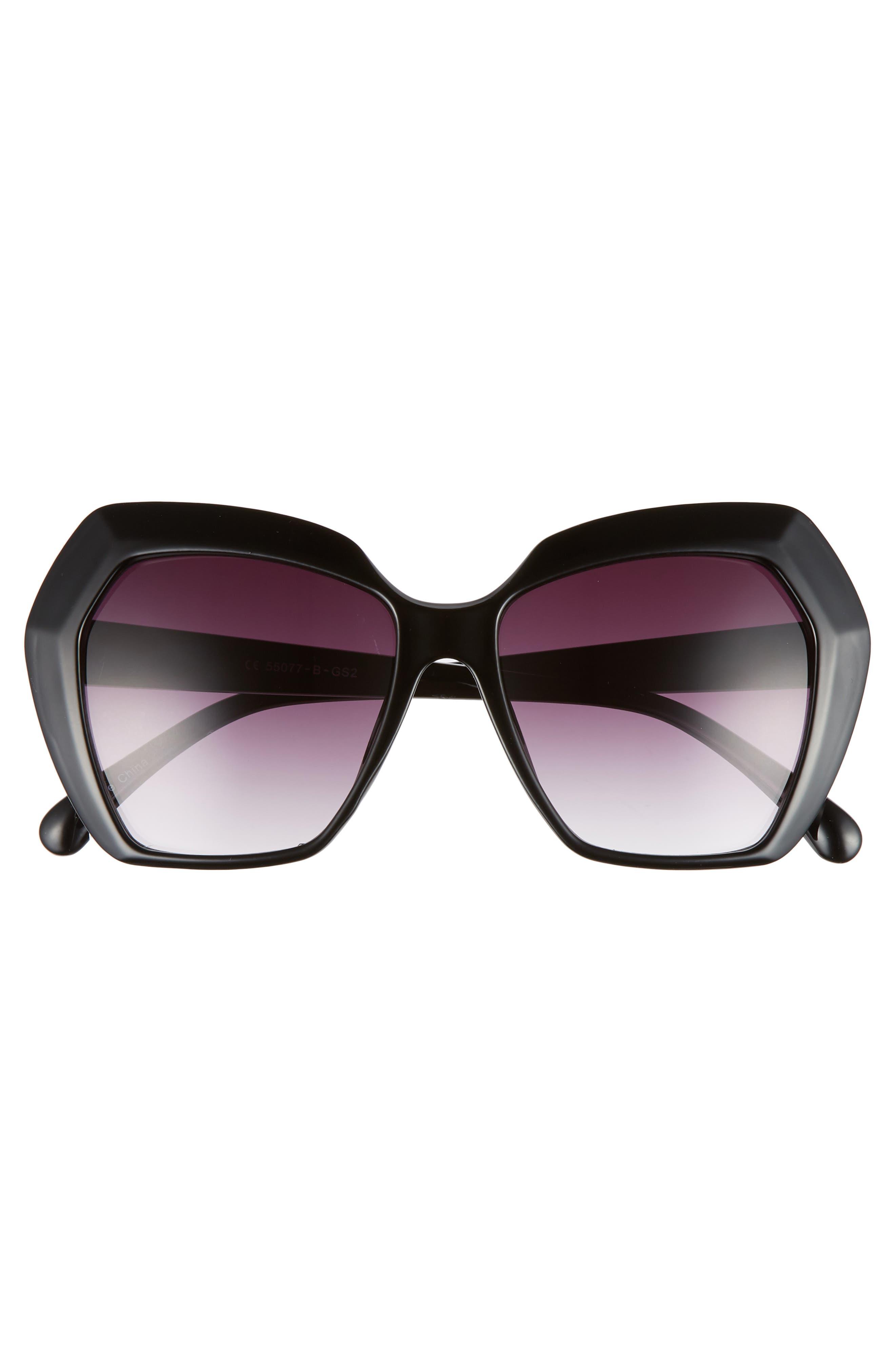 54mm Geometric Sunglasses,                             Alternate thumbnail 3, color,                             BLACK