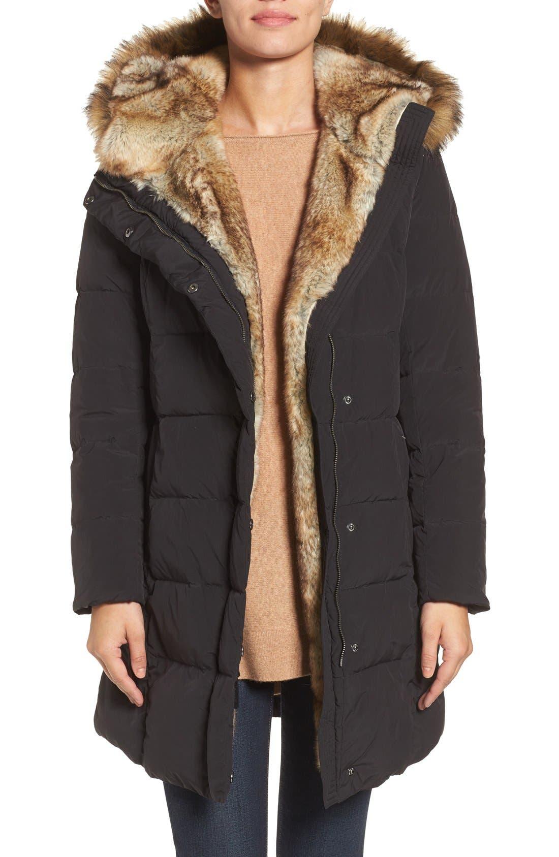 Asymmetrical Down Coat with Faux Fur Trim, Main, color, 001