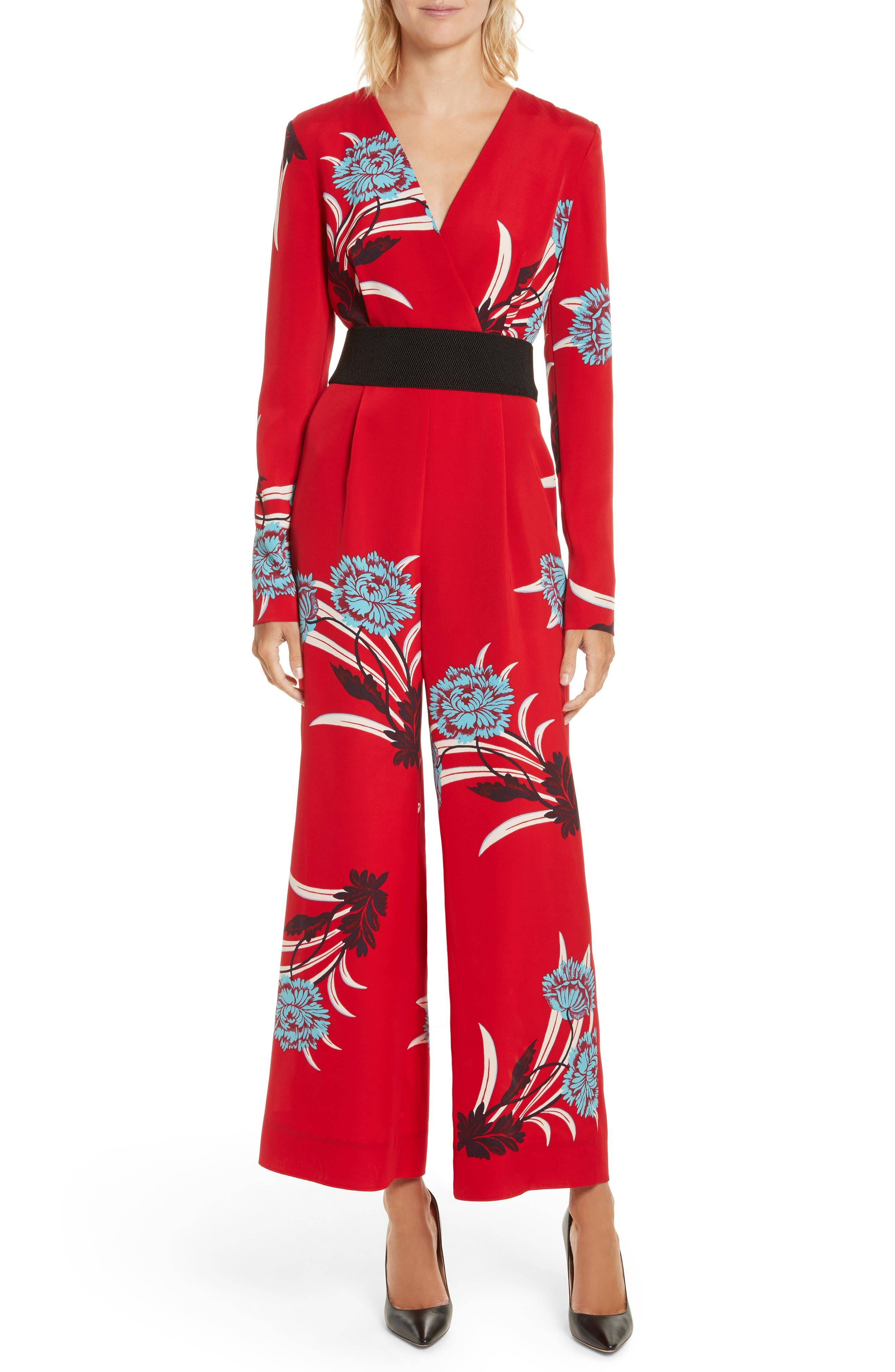 DIANE VON FURSTENBERG Floral Print Crossover Jumpsuit, Main, color, 648