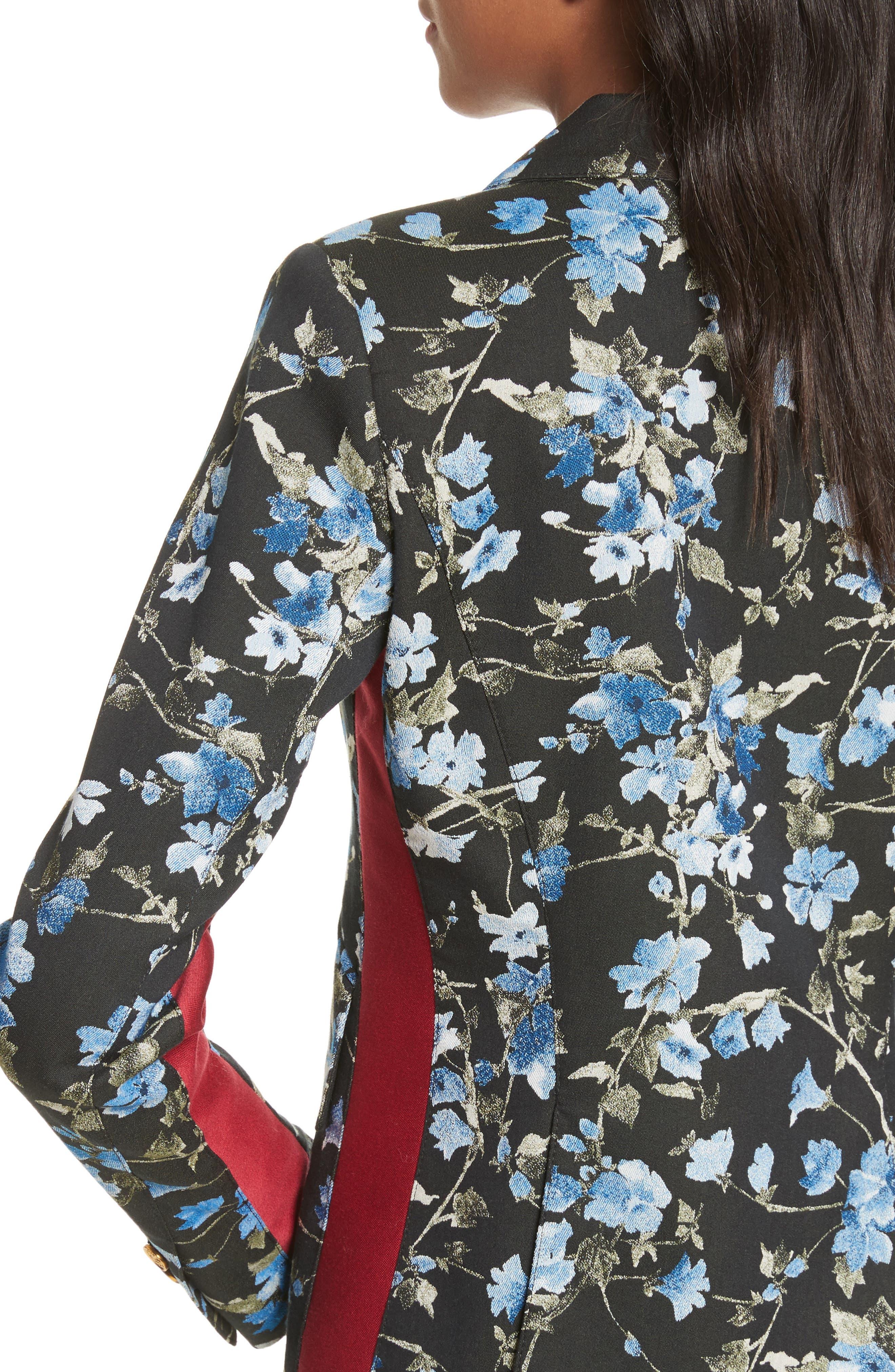 Tuxedo Stripe Floral Jacquard Blazer,                             Alternate thumbnail 4, color,