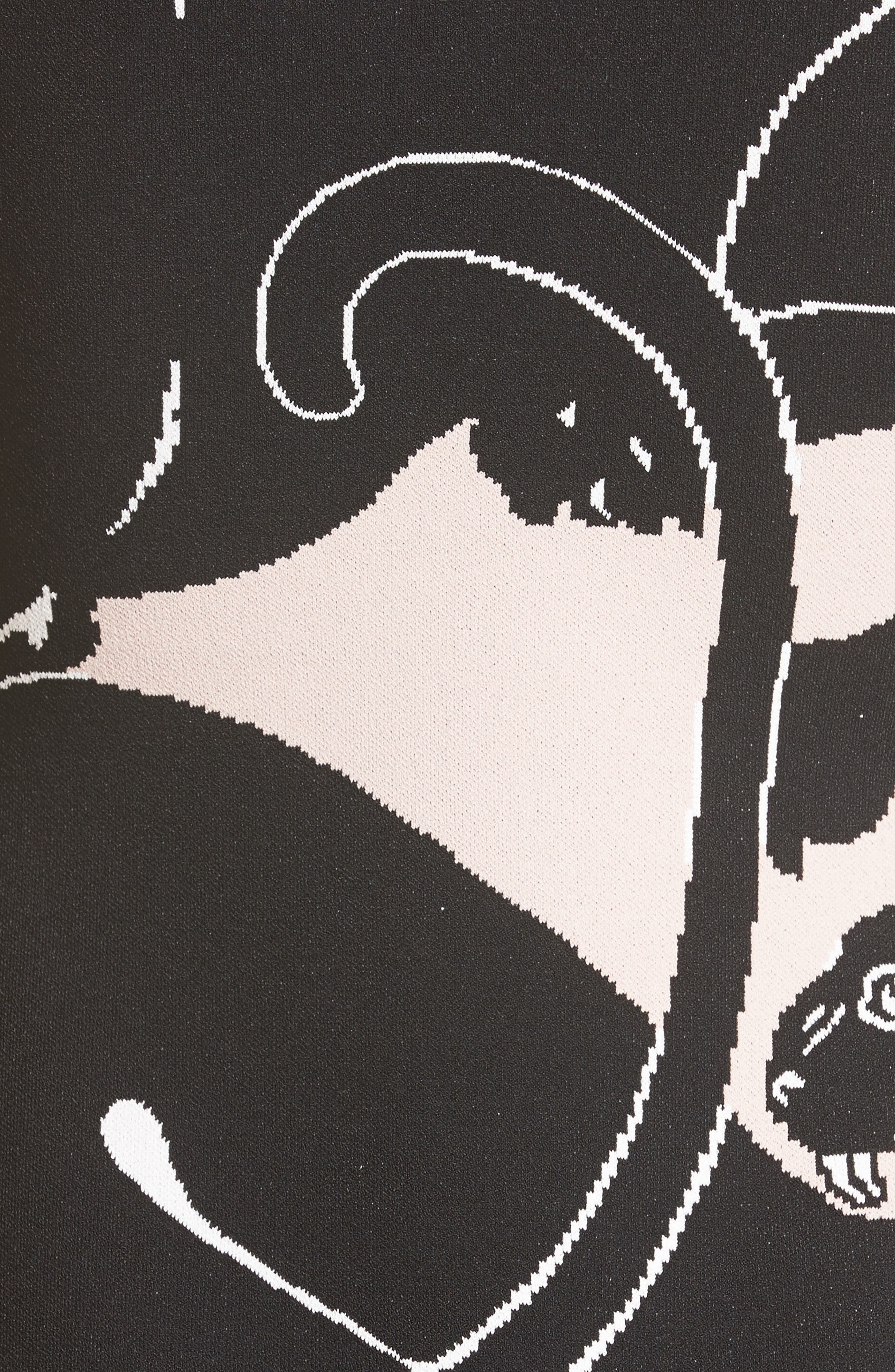 Jacquard Panther Print Dress,                             Alternate thumbnail 6, color,                             001