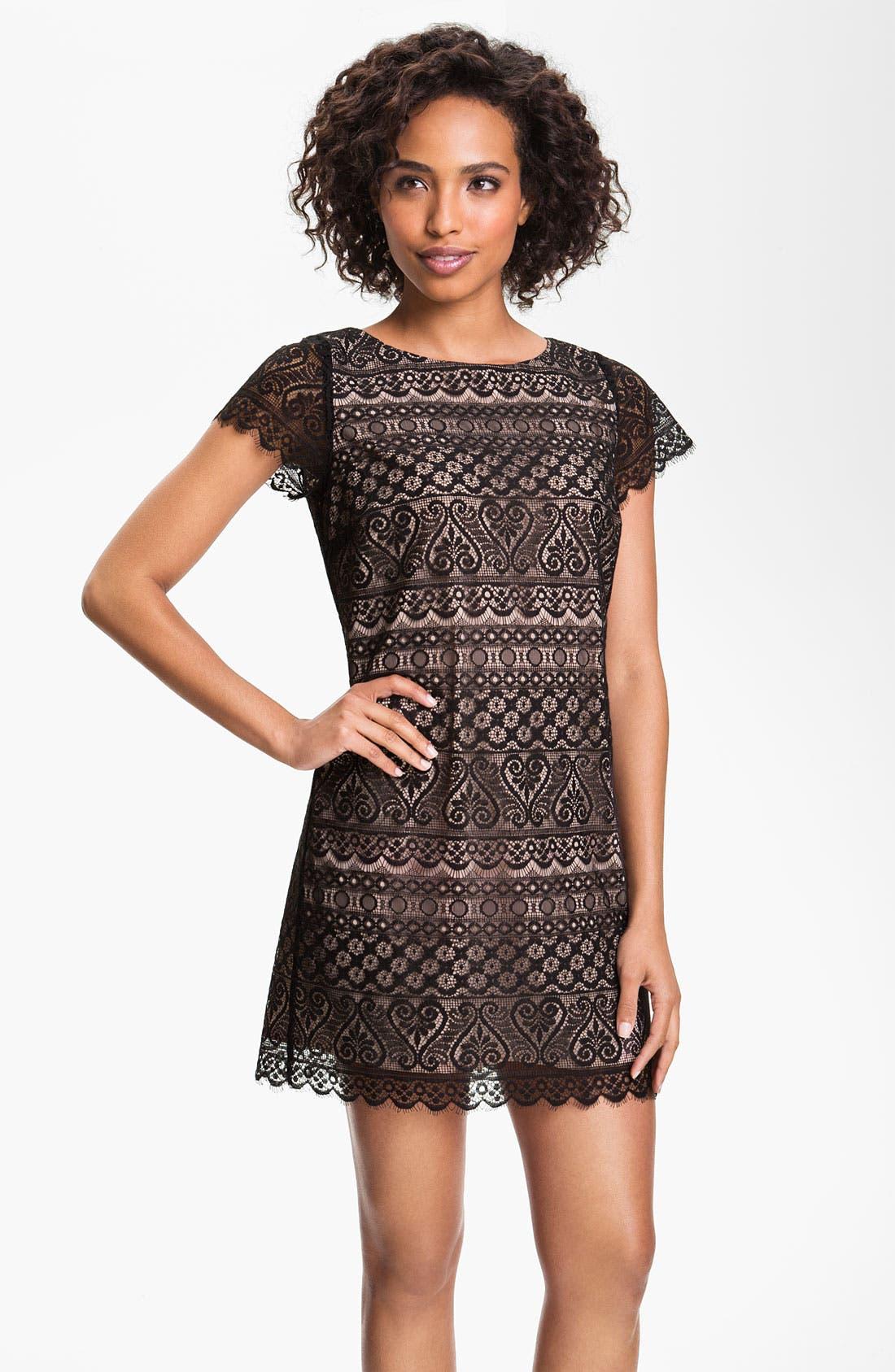 Lace Shift Dress,                         Main,                         color, 001