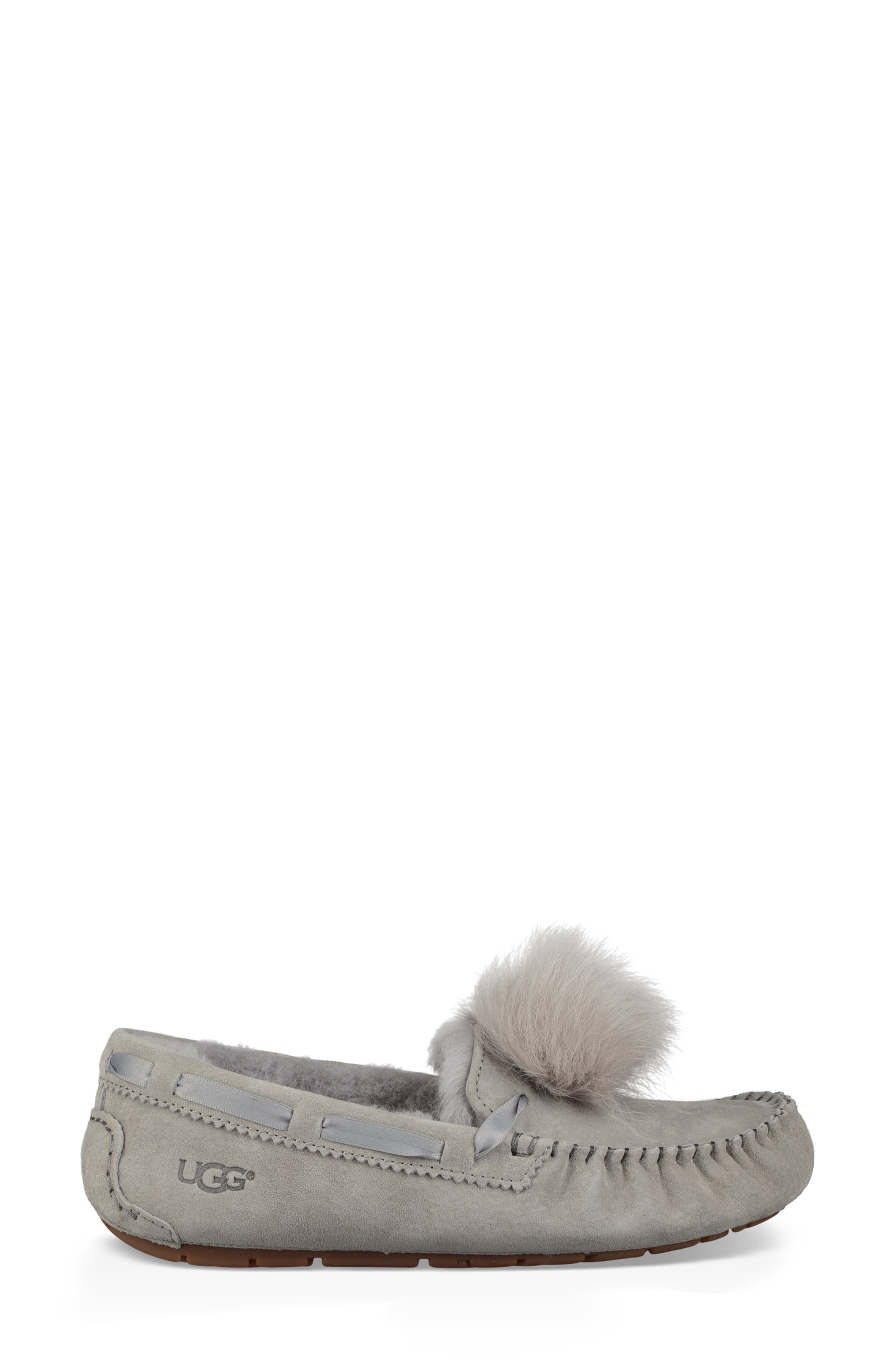 Dakota Water Resistant Genuine Shearling Pompom Slipper,                             Alternate thumbnail 3, color,                             SEAL