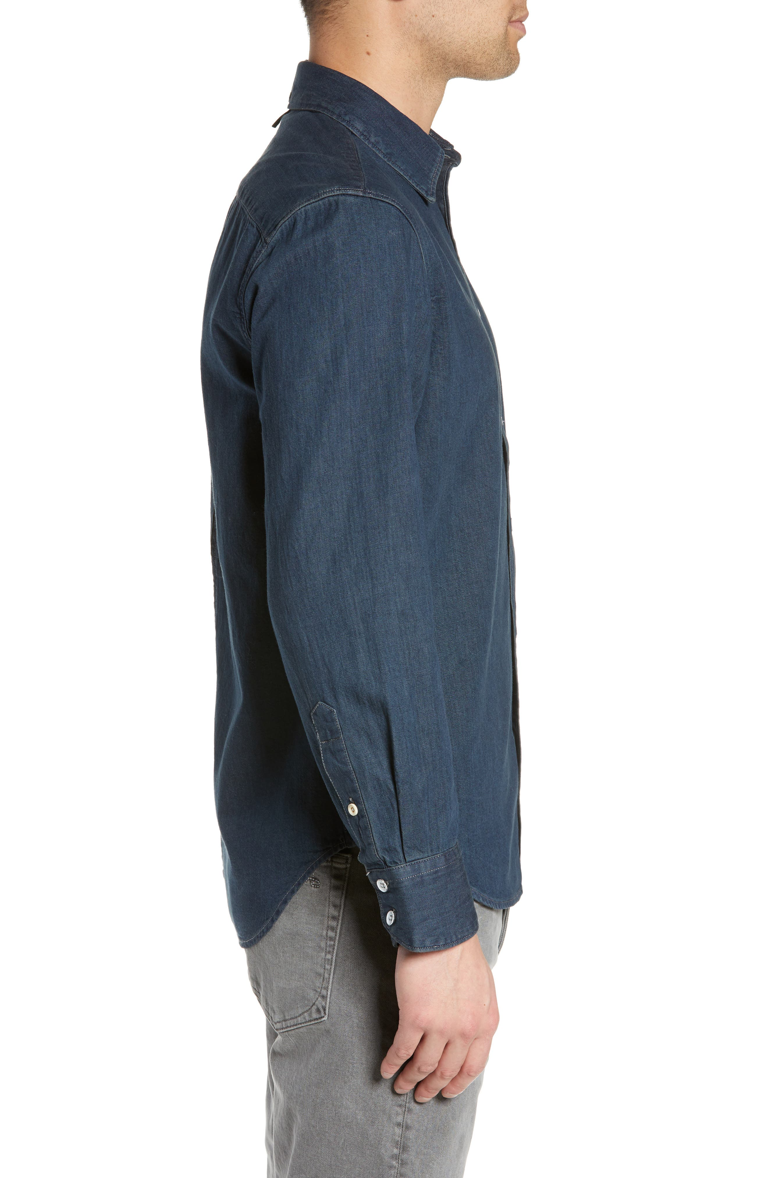 RAG & BONE,                             Fit 3 Denim Sport Shirt,                             Alternate thumbnail 4, color,                             STONE BLUE