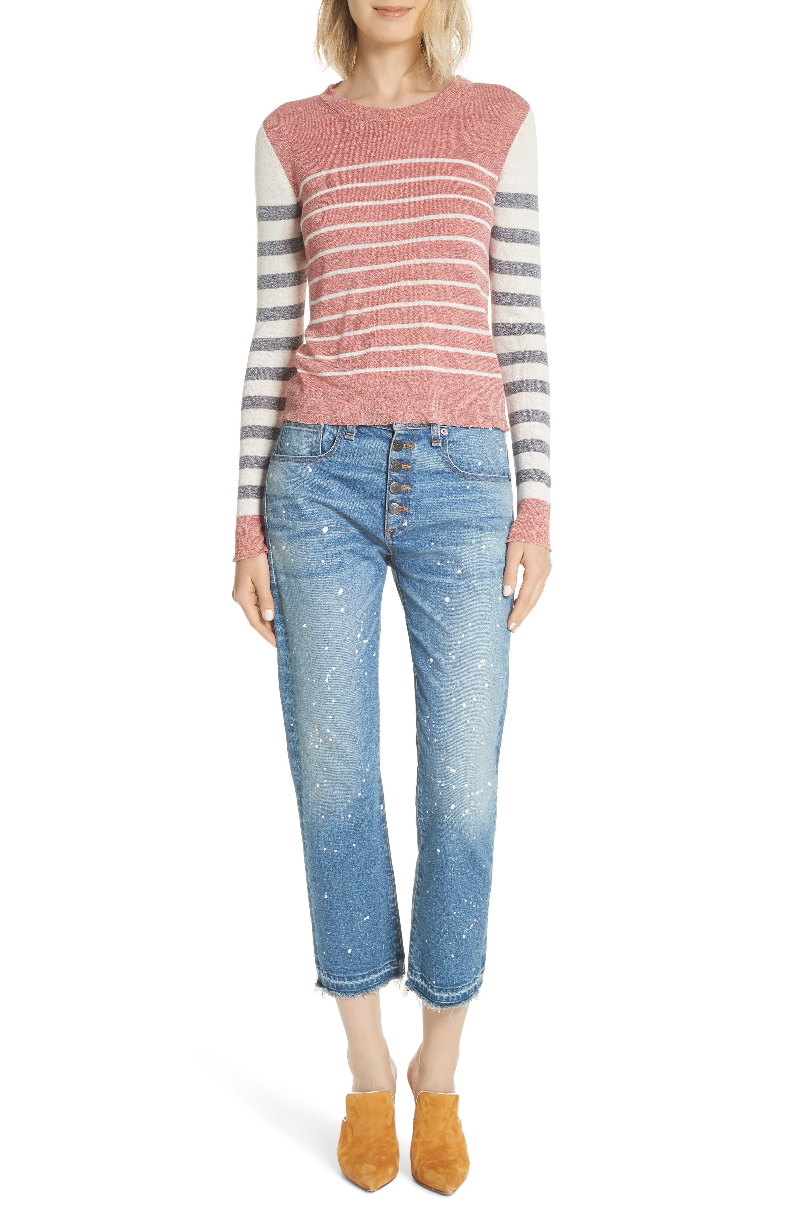 Ines Paint Splatter Crop Girlfriend Jeans,                             Alternate thumbnail 8, color,                             PIPELINE