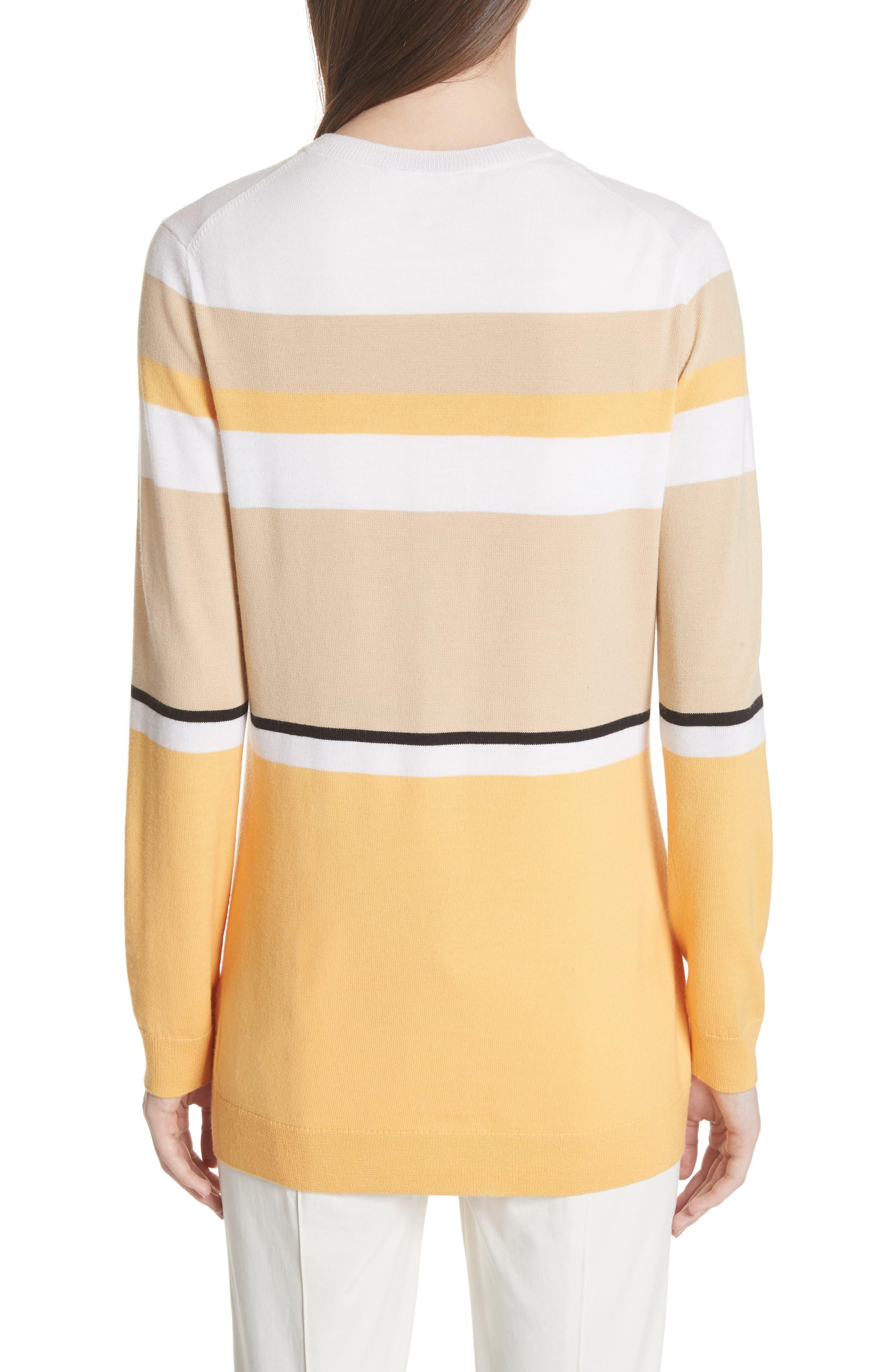 Stripe Jersey Knit Cardigan,                             Alternate thumbnail 2, color,                             WHITE MULTI