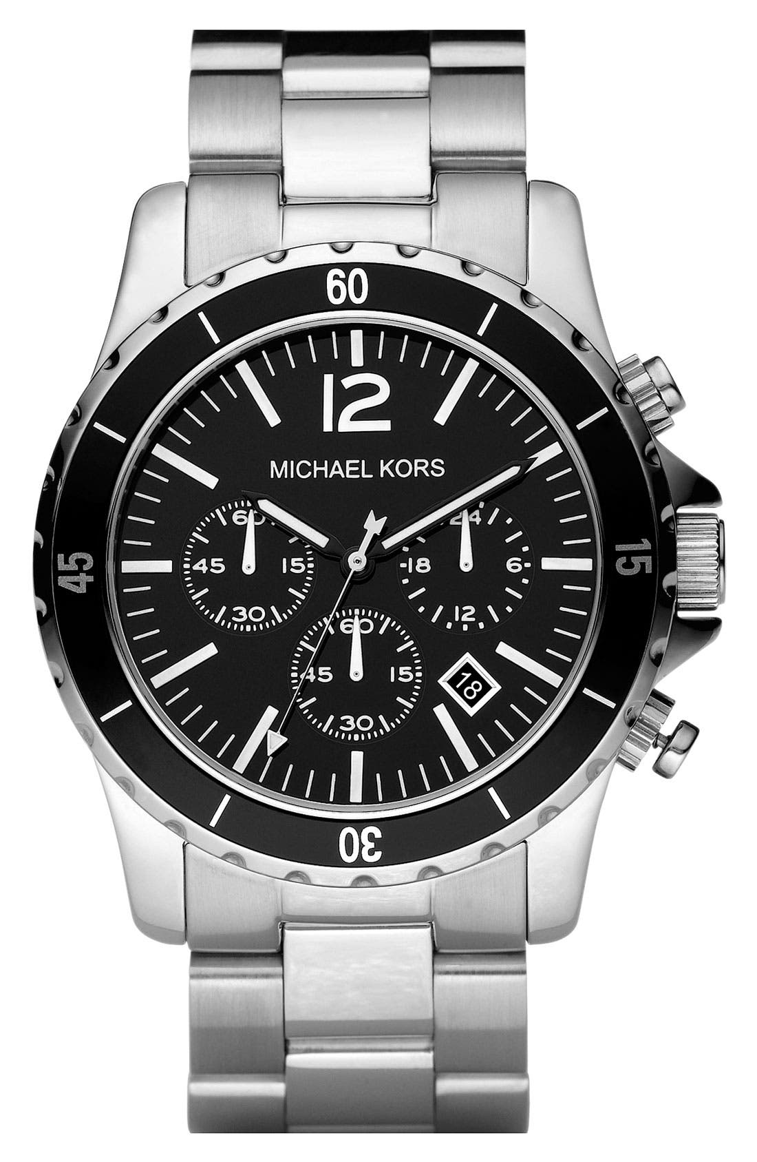 Michael Kors Stainless Steel Chronograph Watch,                             Main thumbnail 1, color,                             040