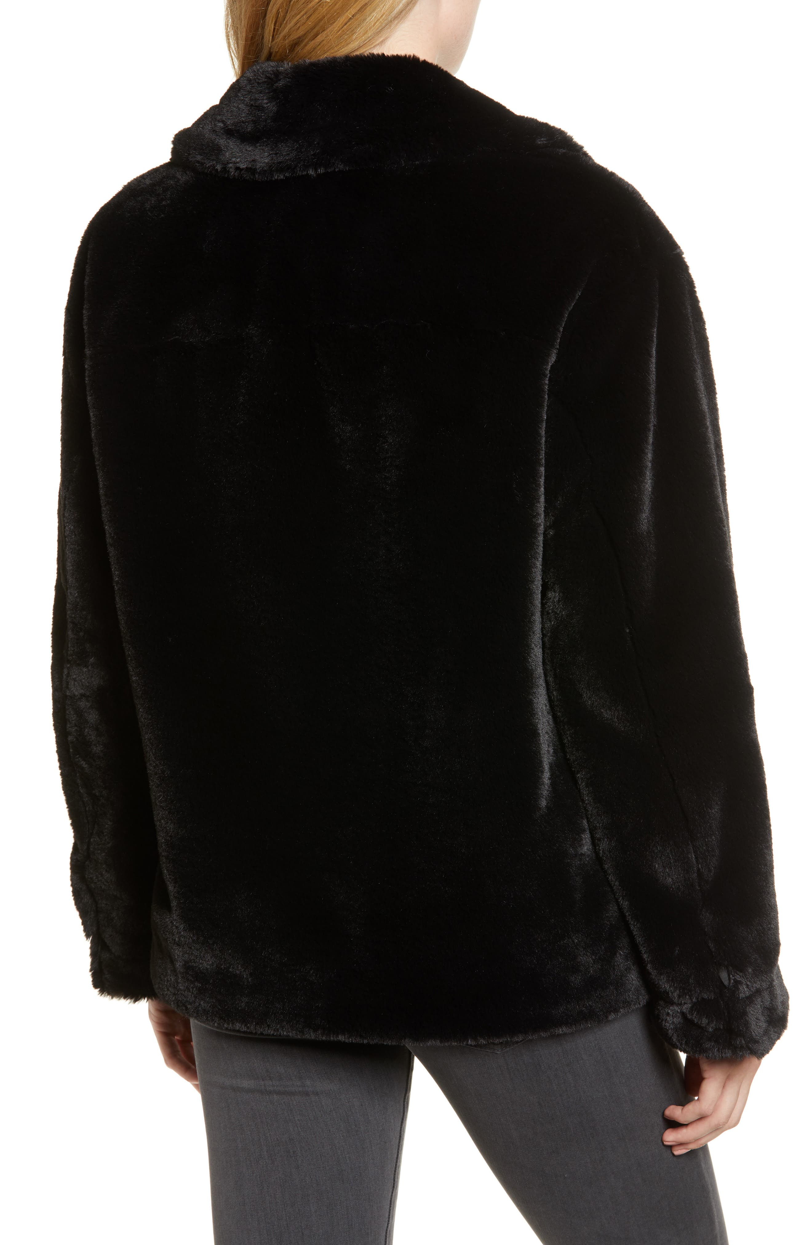 Salma Faux Fur Jacket,                             Alternate thumbnail 2, color,                             BLACK