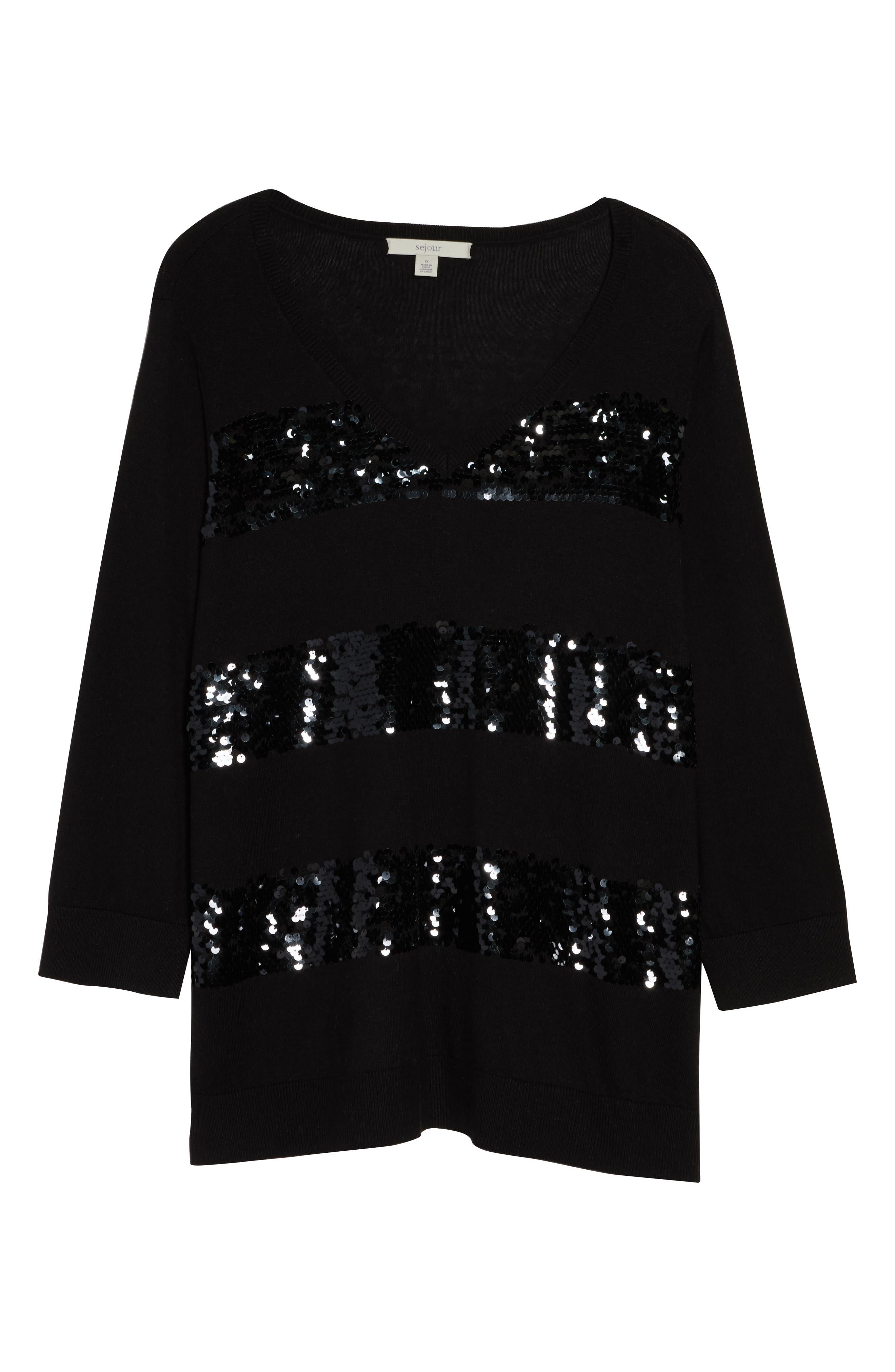 Sequin Stripe Pullover,                             Alternate thumbnail 6, color,                             BLACK