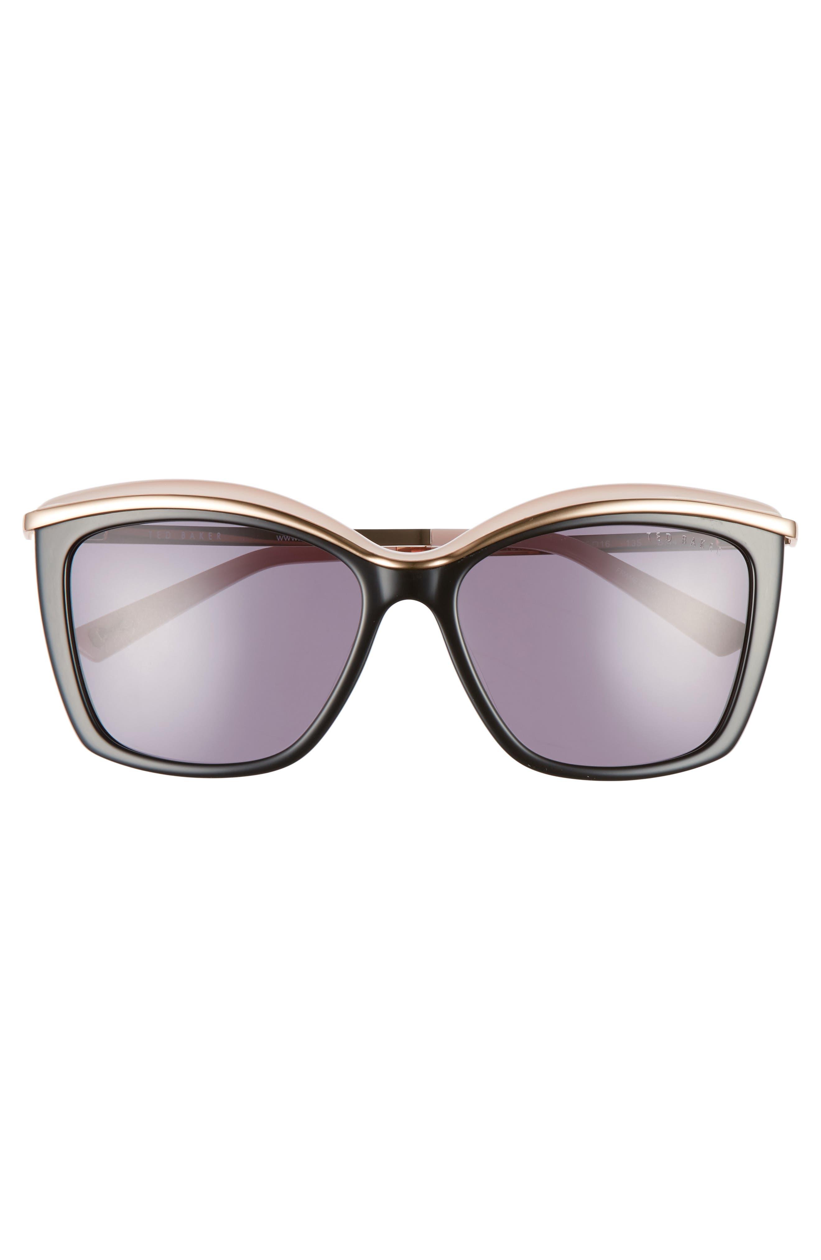 55mm Cat Eye Sunglasses,                             Alternate thumbnail 3, color,                             001