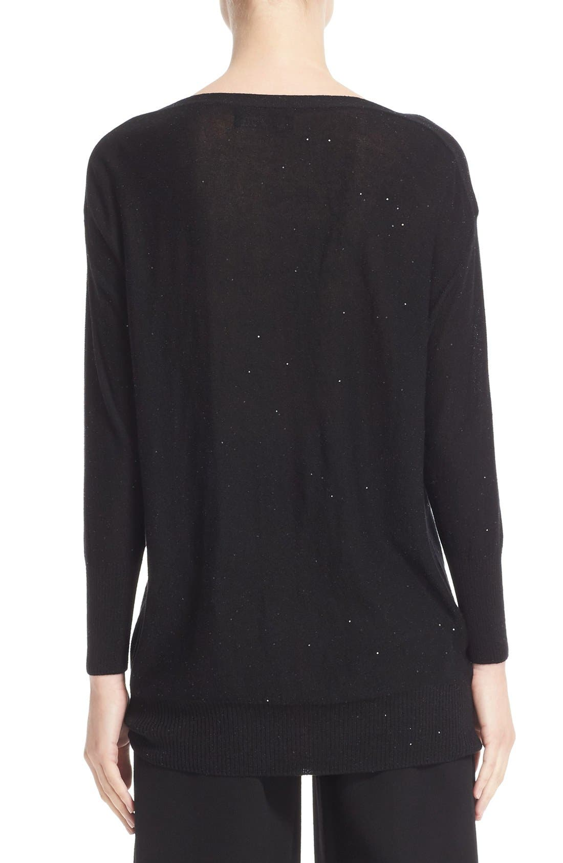 Sequin Knit Silk Blend Sweater,                             Alternate thumbnail 2, color,                             BLACK