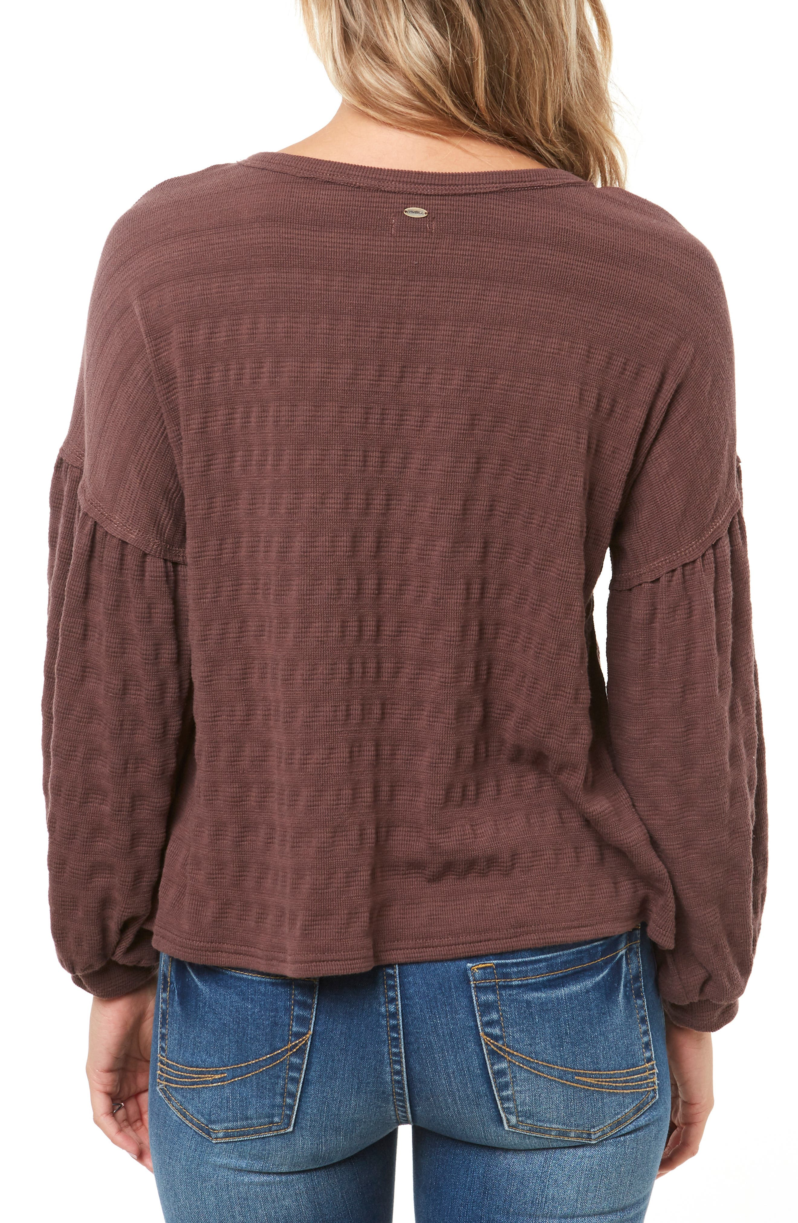Pacifica Balloon Sleeve Top,                             Alternate thumbnail 2, color,                             PEPPERCORN